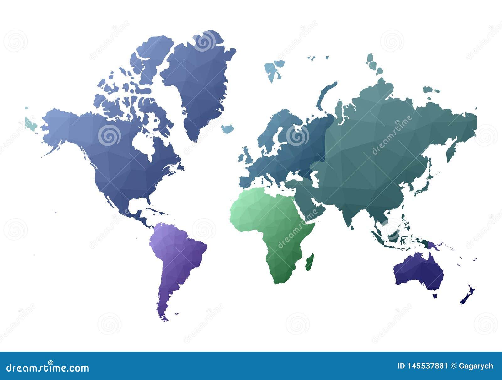 Παγκόσμιος χάρτης λατρευτές χαμηλές πολυ ήπειροι ύφους