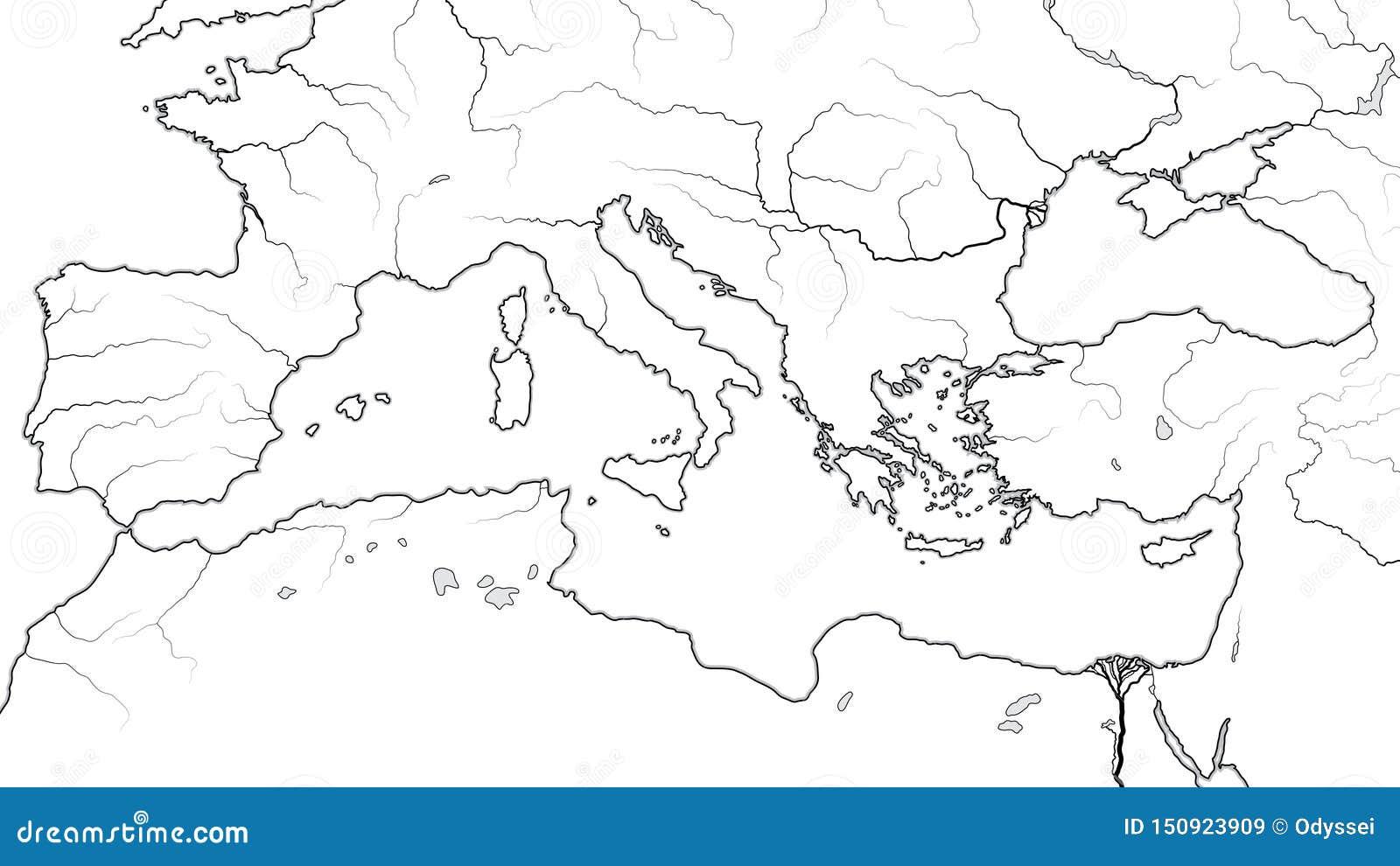 Παγκόσμιος χάρτης της ΠΕΡΙΟΧΗΣ ΤΗΣ ΜΕΣΟΓΕΊΟΥ: Νότια Ευρώπη, Μέση Ανατολή, Βόρεια Αφρική ( Γεωγραφικό chart)