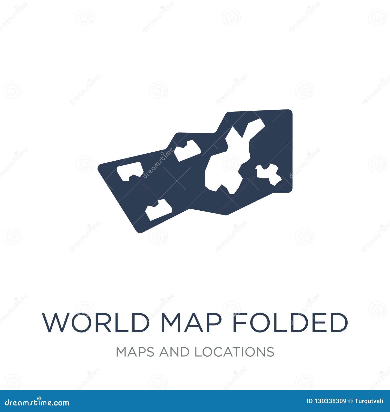 Παγκόσμιο διπλωμένο χάρτης εικονίδιο Καθιερώνον τη μόδα επίπεδο διανυσματικό παγκόσμιο διπλωμένο χάρτης εικονίδιο