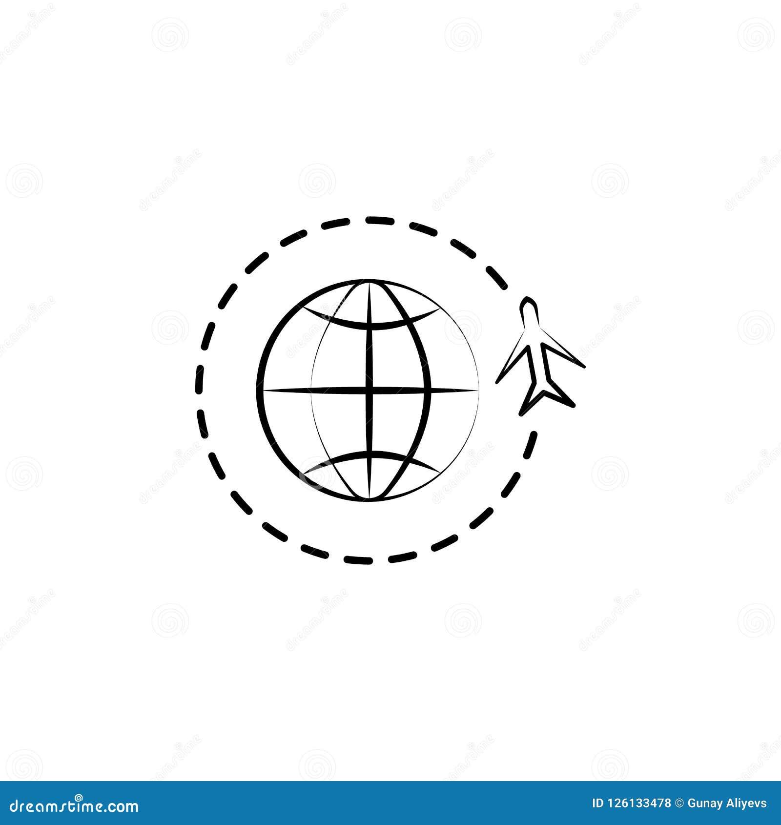 Παγκόσμιο εικονίδιο ταξιδιού Στοιχείο του αντι εικονιδίου γήρανσης για την κινητούς έννοια και τον Ιστό apps Το παγκόσμιο εικονίδ
