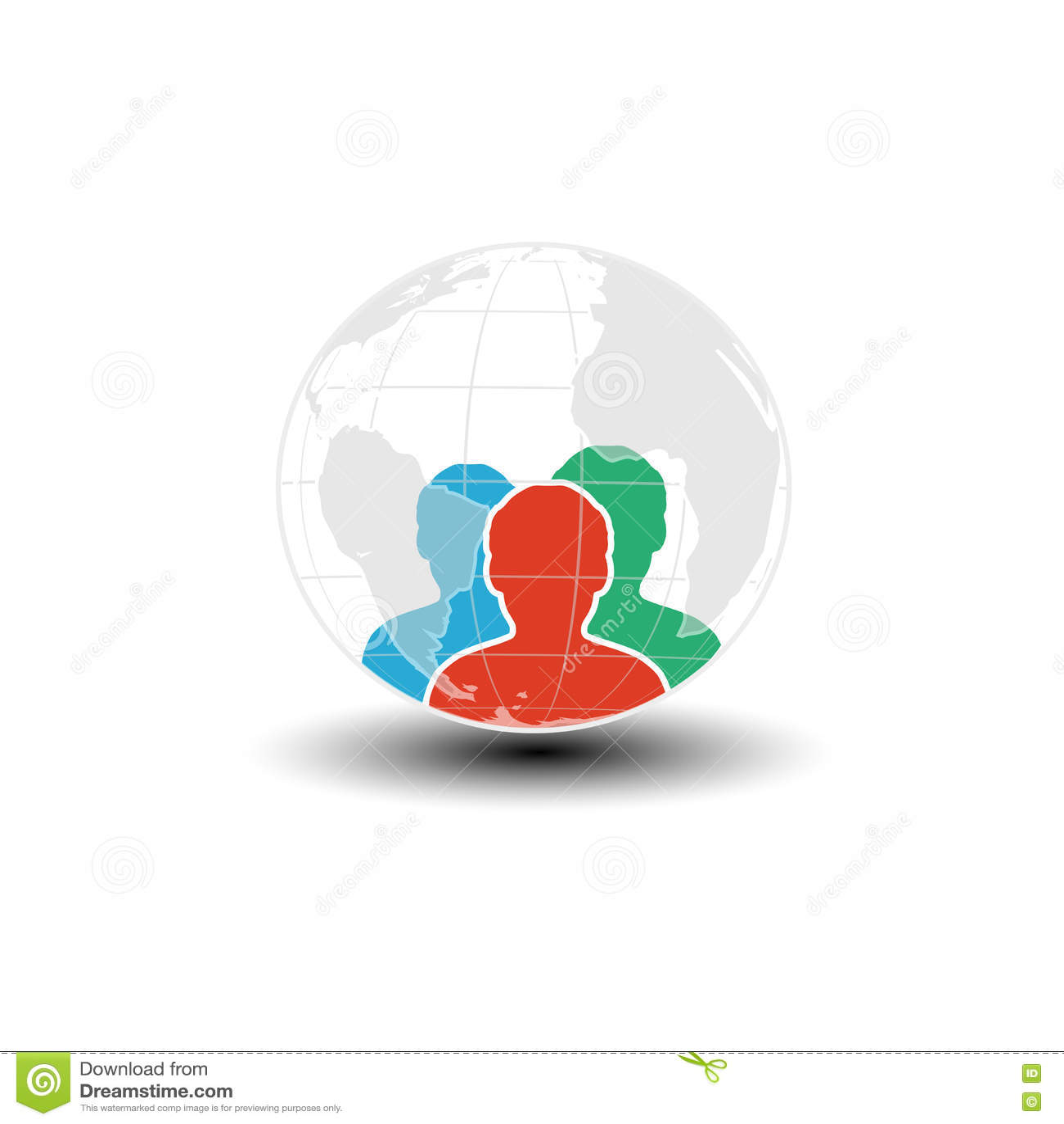 Παγκόσμιο εικονίδιο, ανθρώπινο σύμβολο Κοινότητα των ανθρώπων στον κόσμο Τρεις σκιαγραφίες ατόμων με τη σφαίρα