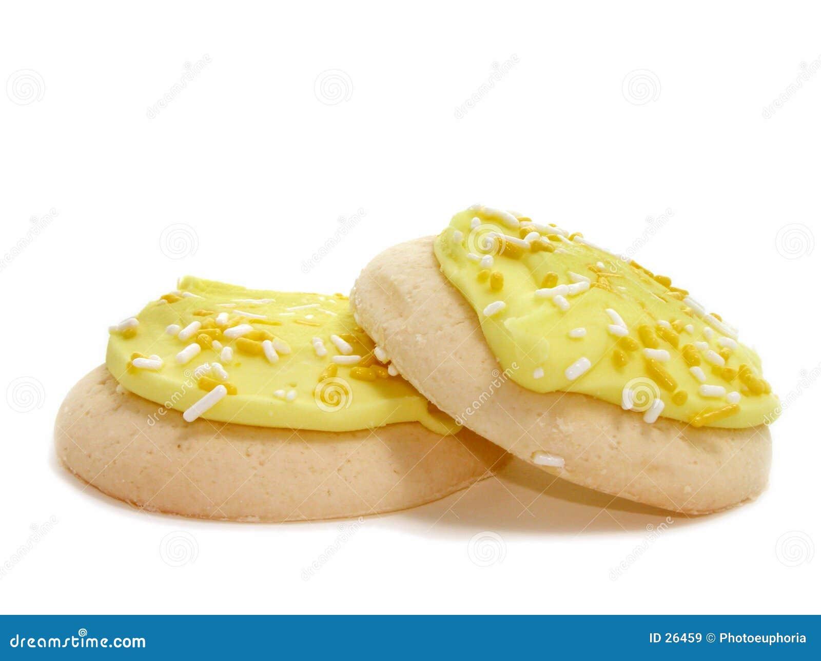 παγωμένη μπισκότα ψεκασμένη λεμόνι ζάχαρη δύο