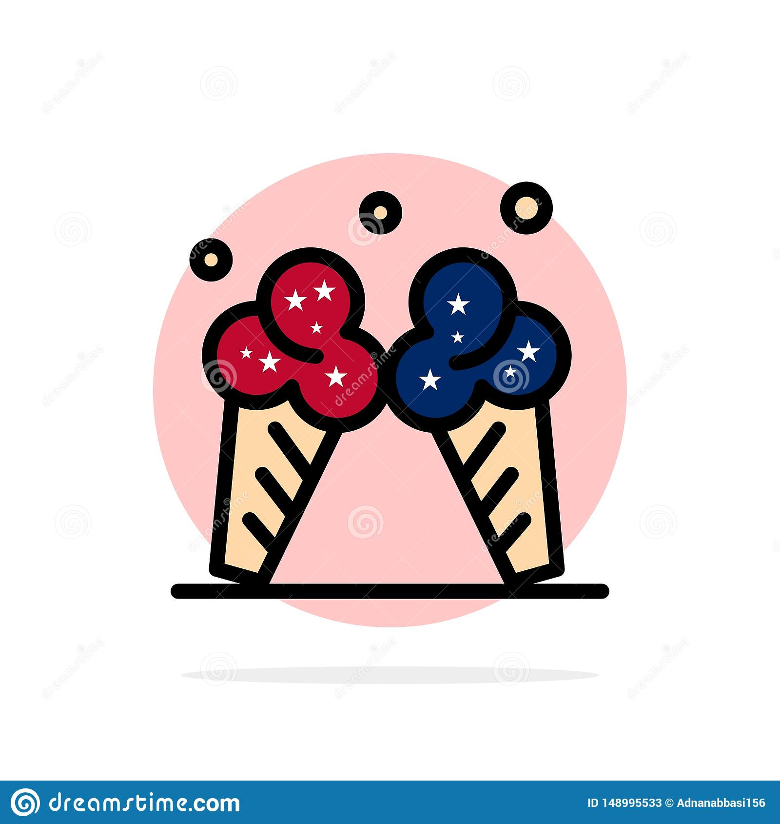 Παγωτό, πάγος, κρέμα, αμερικανικό αφηρημένο κύκλων εικονίδιο χρώματος υποβάθρου επίπεδο