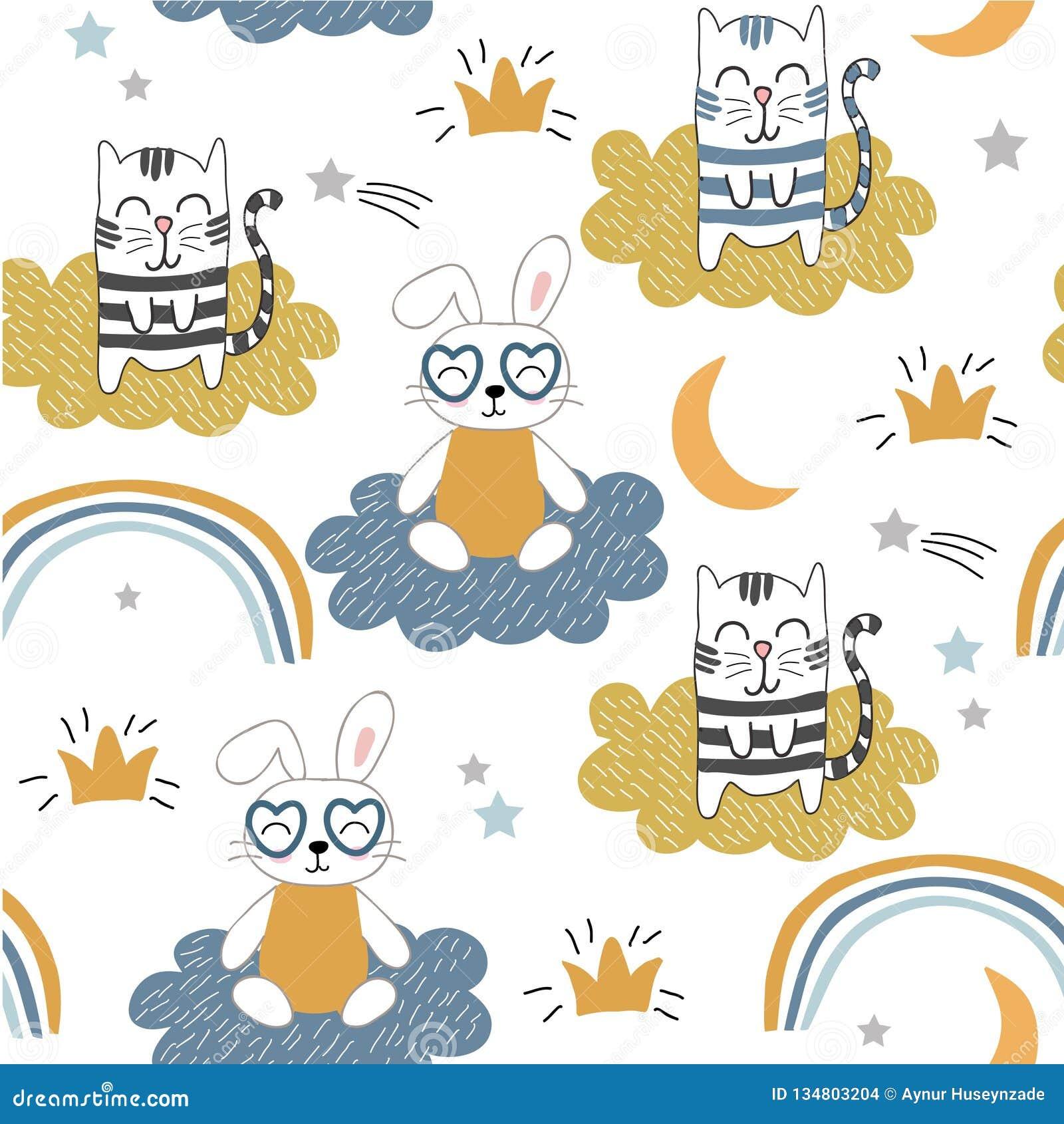 Παιδαριώδες άνευ ραφής σχέδιο με τις χαριτωμένα γάτες και το λαγουδάκι διανυσματικό υπόβαθρο για τα παιδιά, ύφασμα, υφαντικό, τυλ