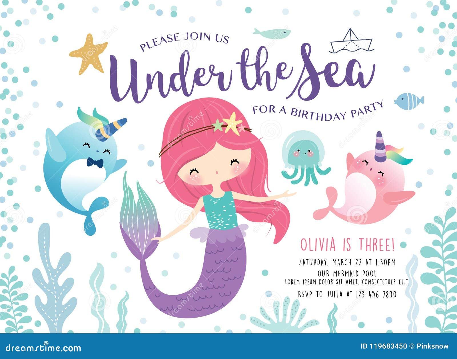 Παιδιά κάτω από την κάρτα πρόσκλησης γιορτών γενεθλίων θάλασσας