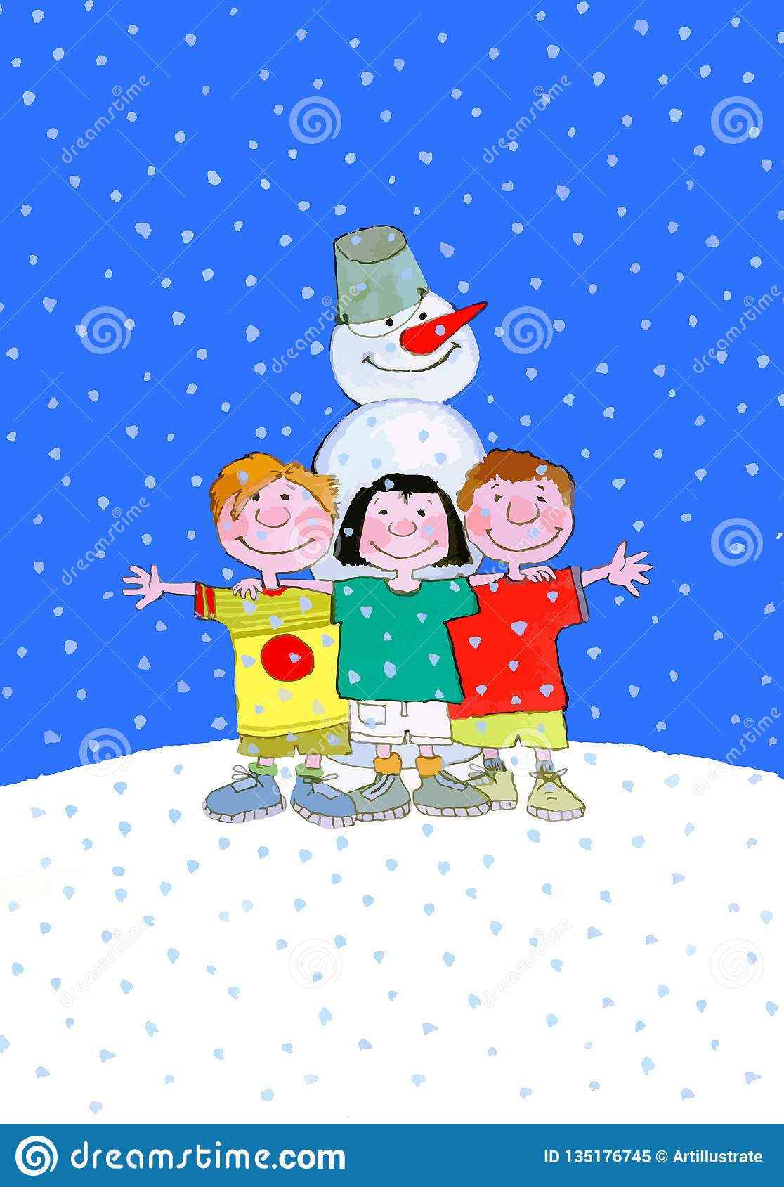 Παιδιά και χιονάνθρωπος στις χειμερινές διακοπές