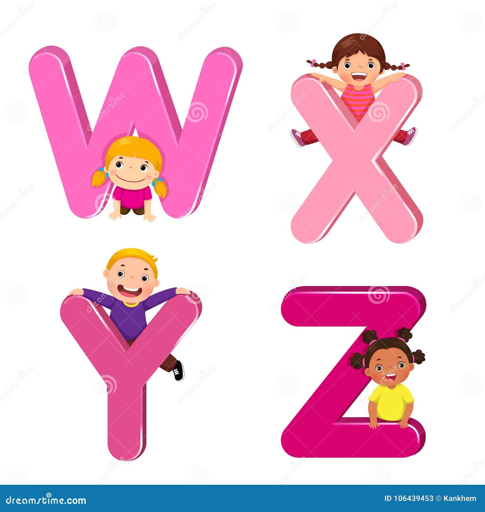 Παιδιά κινούμενων σχεδίων με τις επιστολές WXYZ