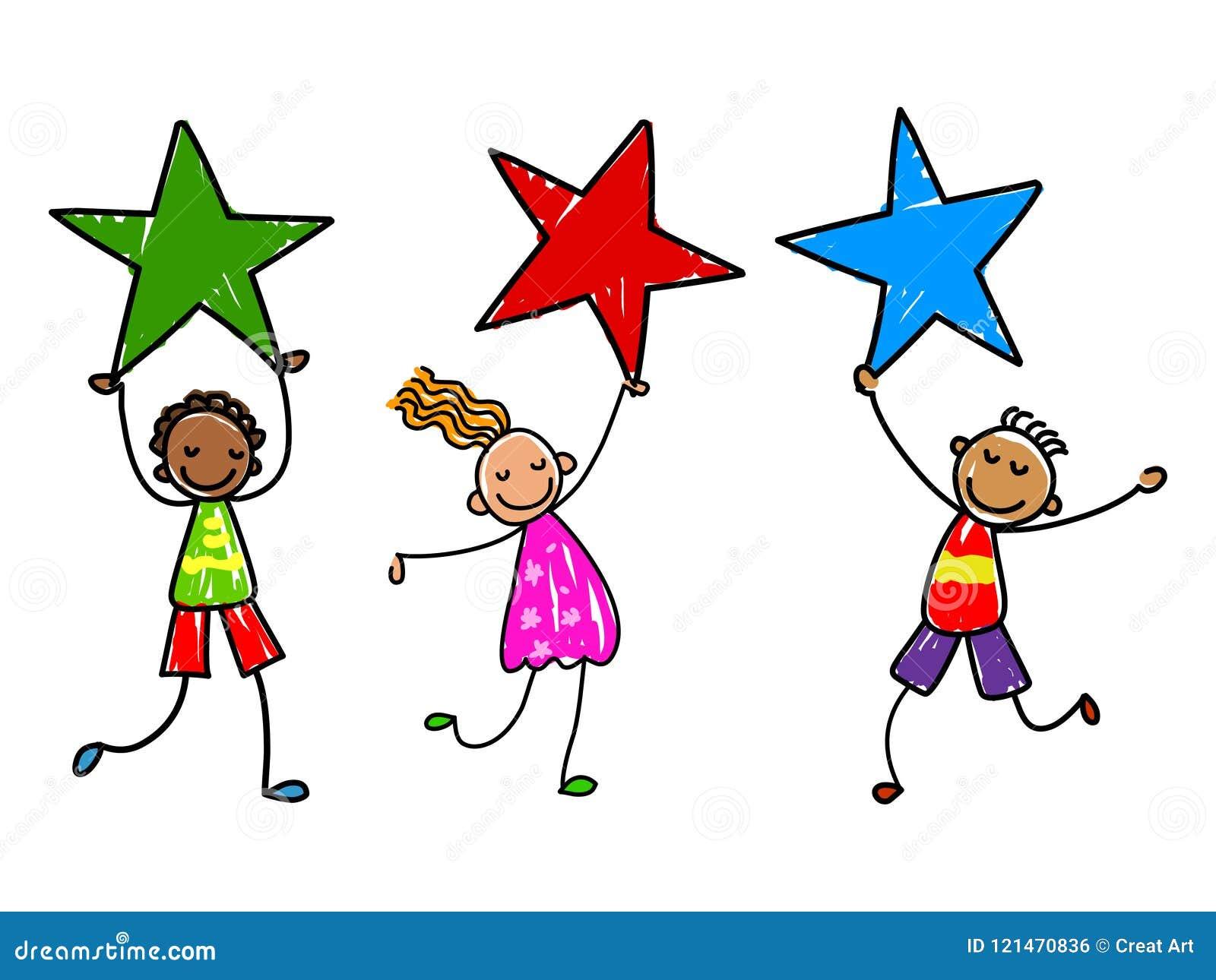 Παιδιά με τα βραβεία Διανυσματική απεικόνιση παιδιών αστεριών