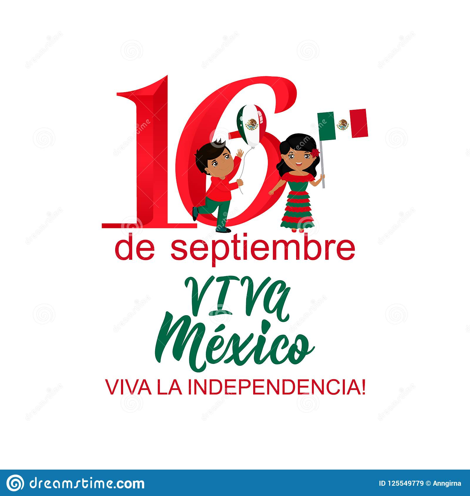 Παιδιά που κρατούν τις σημαίες του Μεξικού Μεξικάνικη μετάφραση: 16ος του Σεπτεμβρίου Ευτυχής ημέρα της ανεξαρτησίας Viva Μεξικό