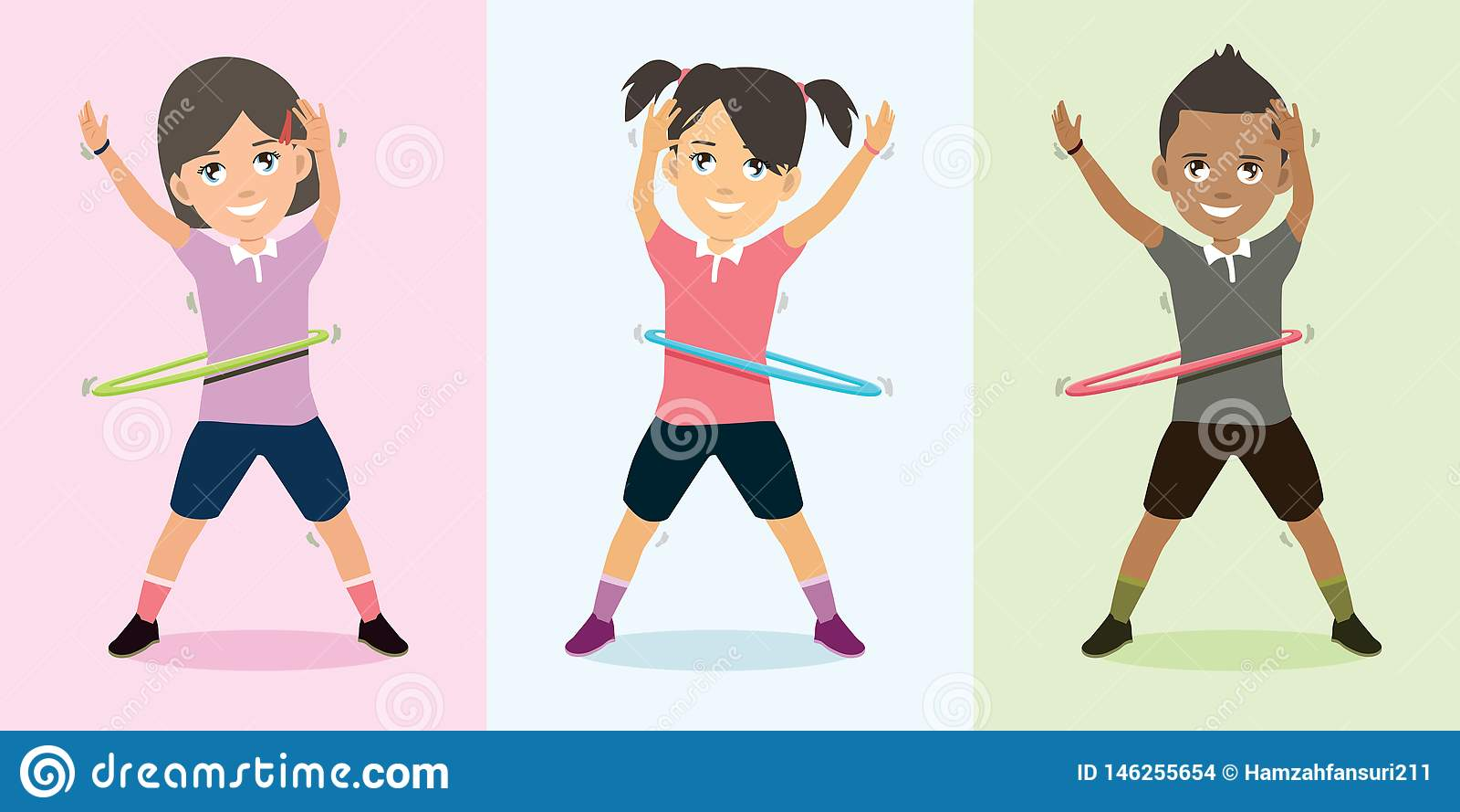 Παιδιά που παίζουν τη στεφάνη που χορεύει με την ευτυχή διανυσματική απεικόνιση προσώπου