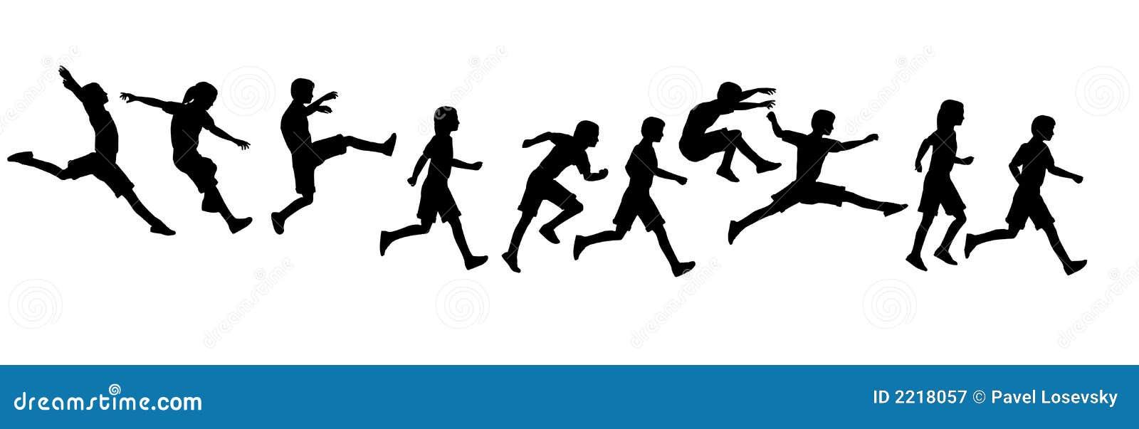 παιδιά που πηδούν το τρέξιμο