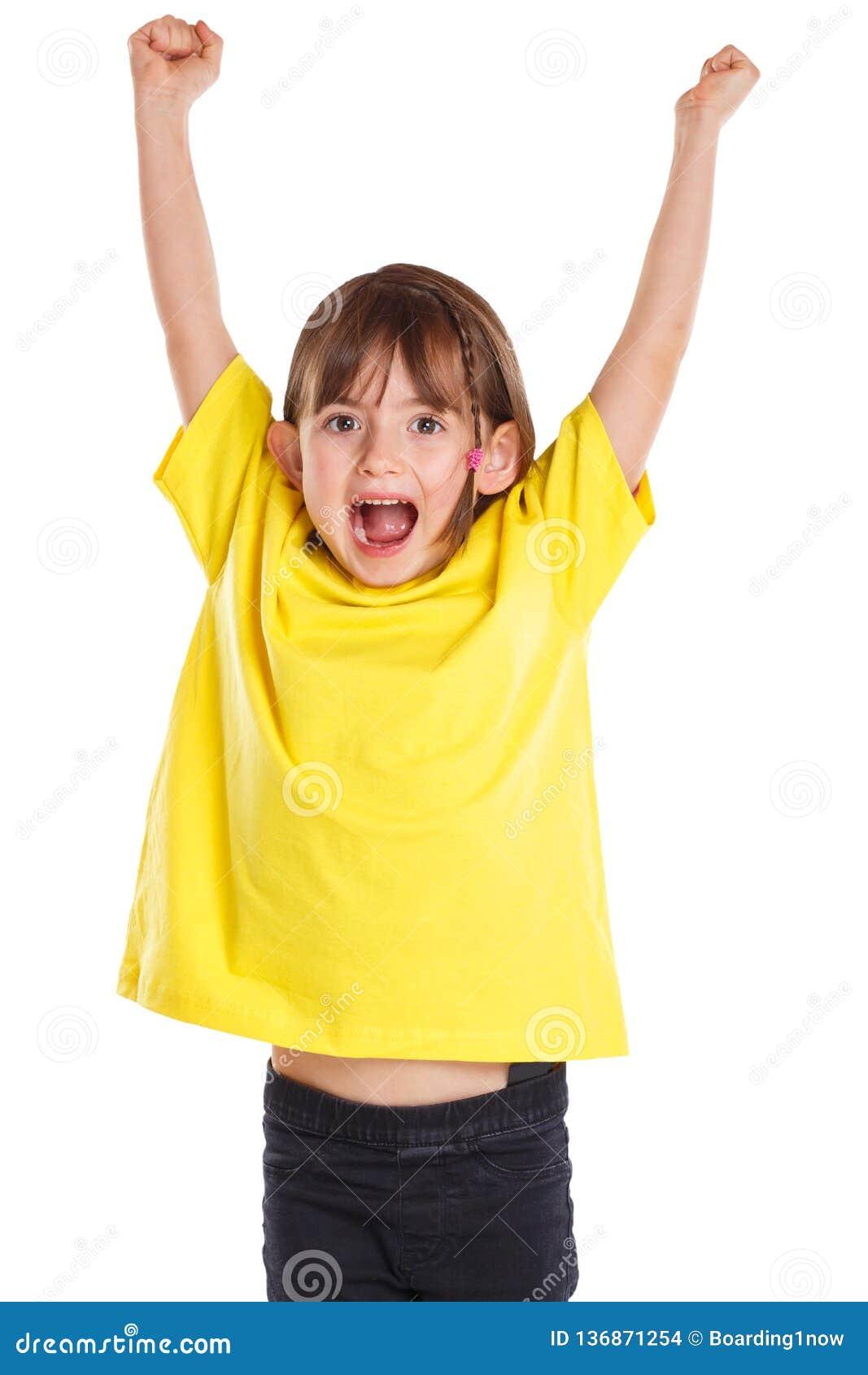 Παιδιών παιδιών κοριτσιών ευτυχείς ευτυχίας πηδώντας νεολαίες διασκέδασης επιτυχίας επιτυχείς καλές που απομονώνονται στο λευκό