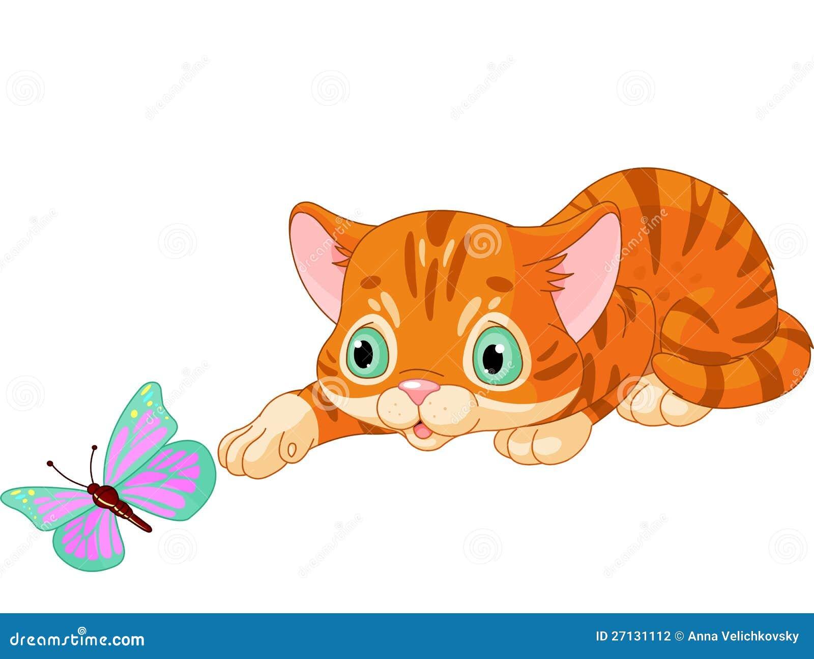 Παιχνίδια γατακιών με την πεταλούδα