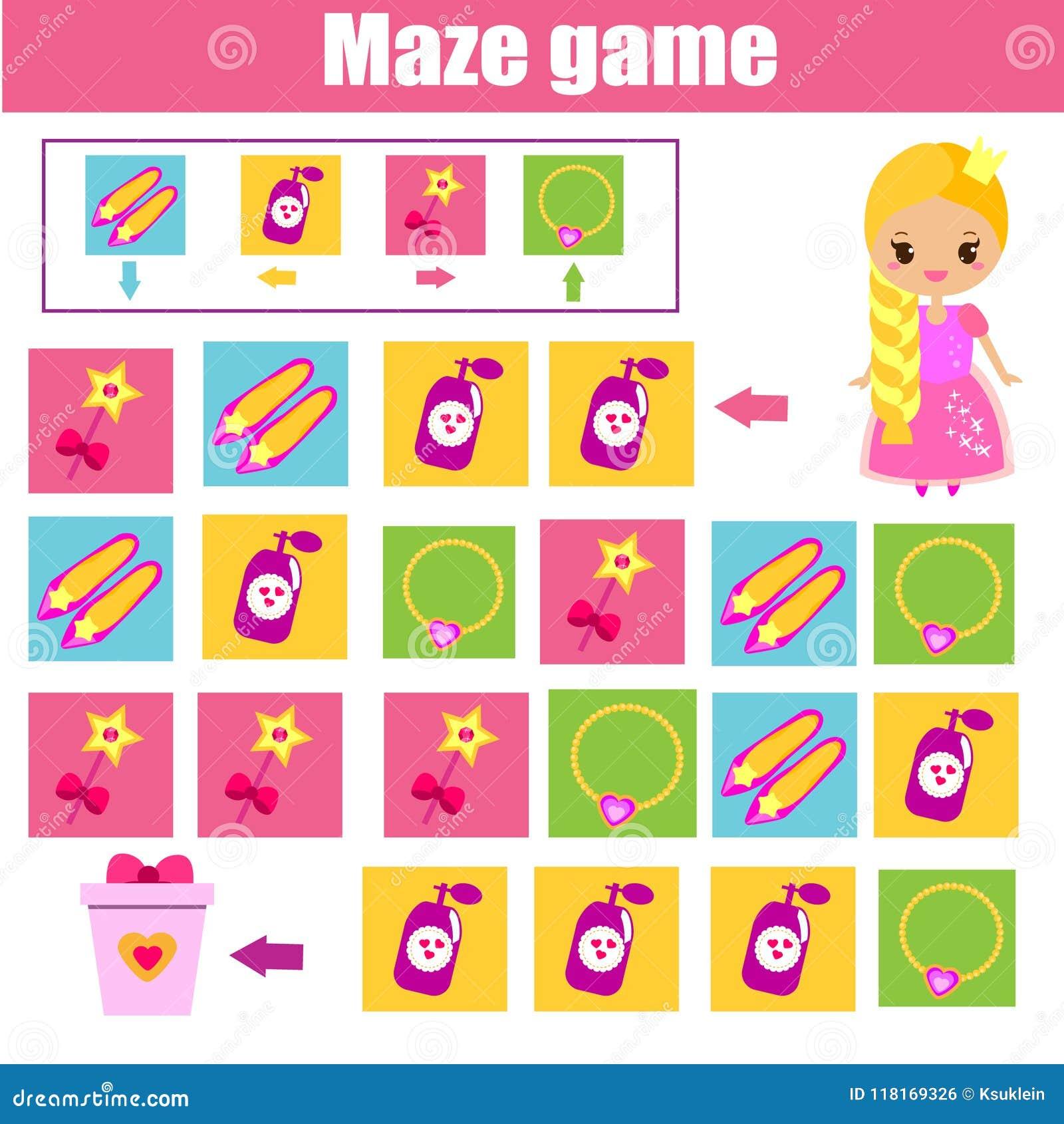 Παιχνίδι λαβυρίνθου Φύλλο δραστηριότητας παιδιών Λαβύρινθος λογικής με τη ναυσιπλοΐα κώδικα