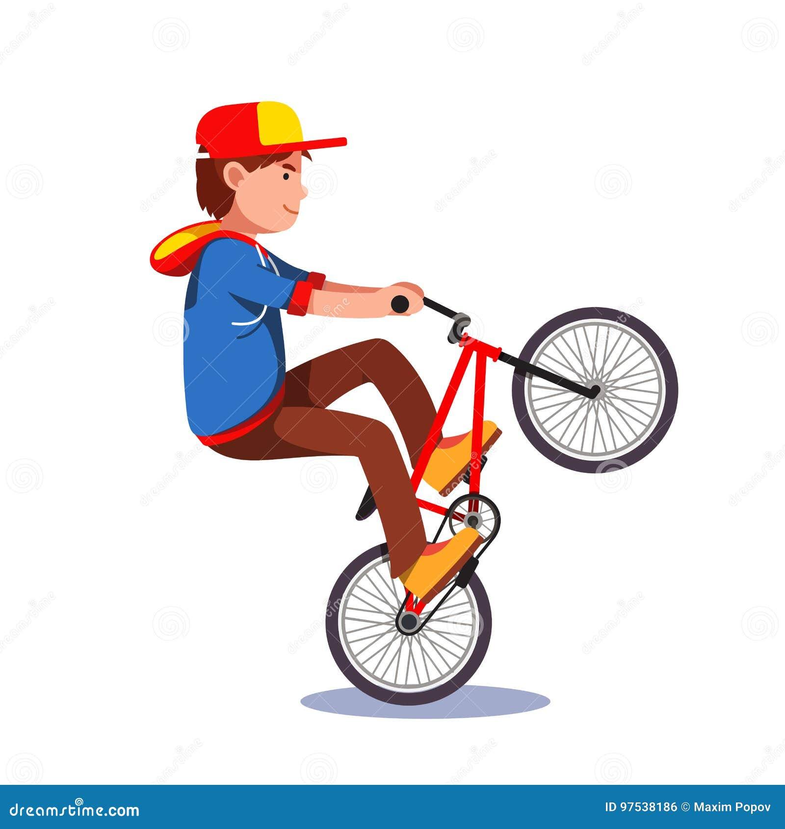 6e6d84ed0bb Παιδί εφήβων που κάνει Wheelie την ακροβατική επίδειξη σε ένα ...