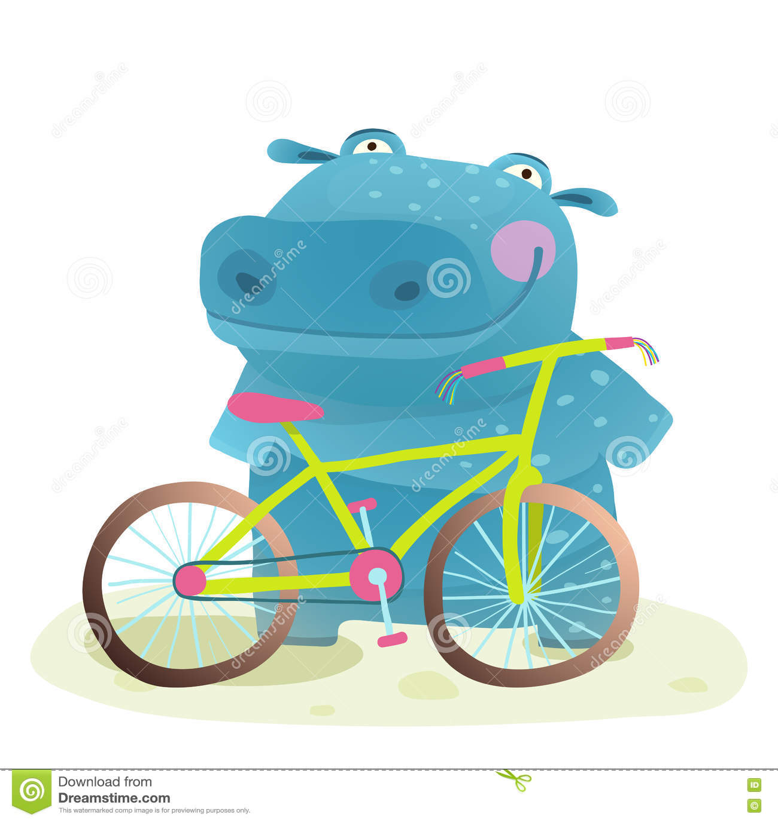 3919c58e4c2 Παιδί χαριτωμένο Hippo με τα παιδαριώδη κινούμενα σχέδια ποδηλάτων ...