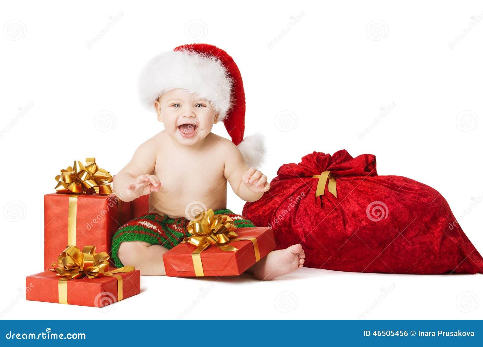 Παιδιά μωρών Χριστουγέννων, παρούσες κιβώτιο δώρων παιδιών και τσάντα Santa
