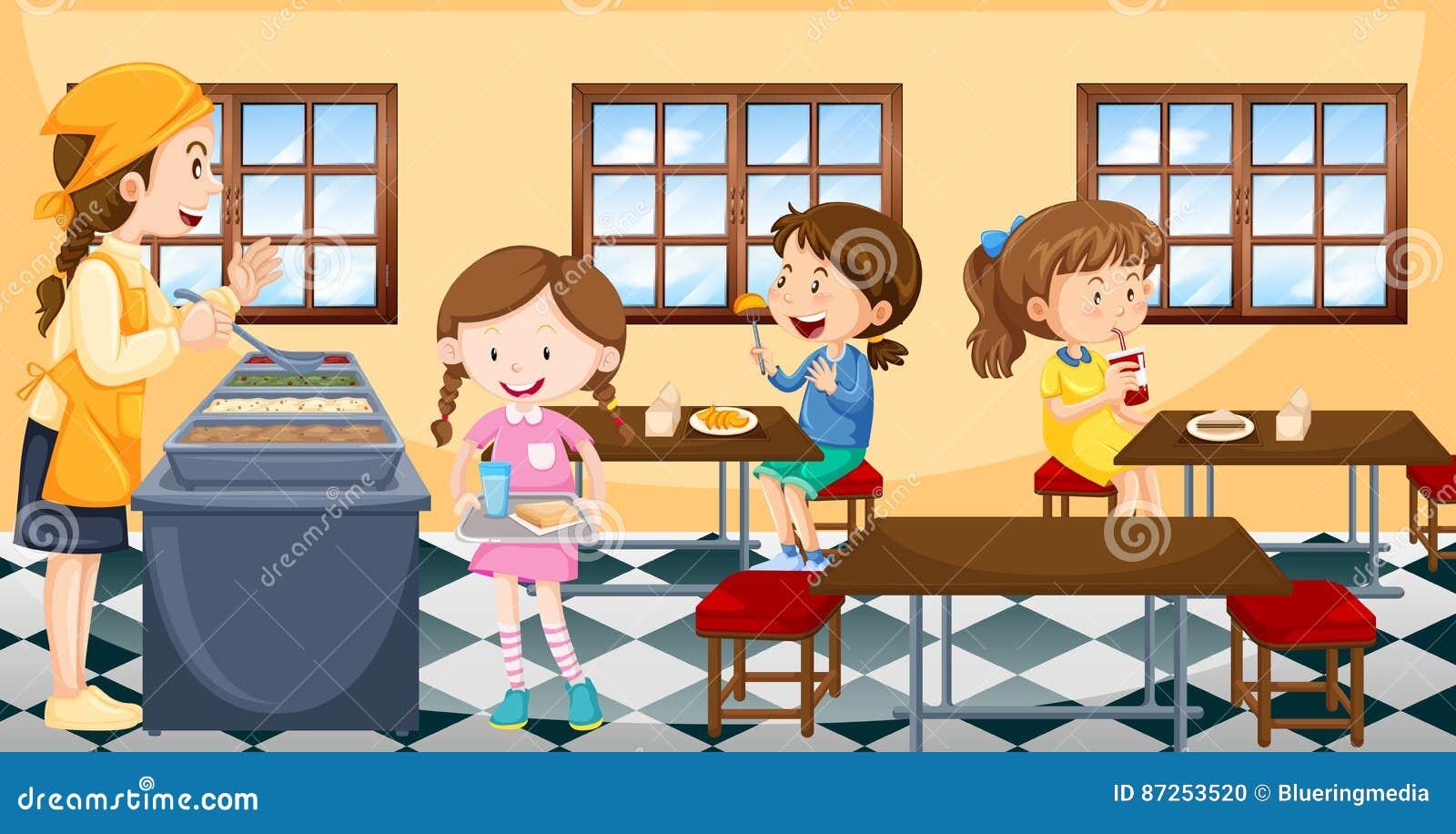 Παιδιά που έχουν το μεσημεριανό γεύμα στην καντίνα