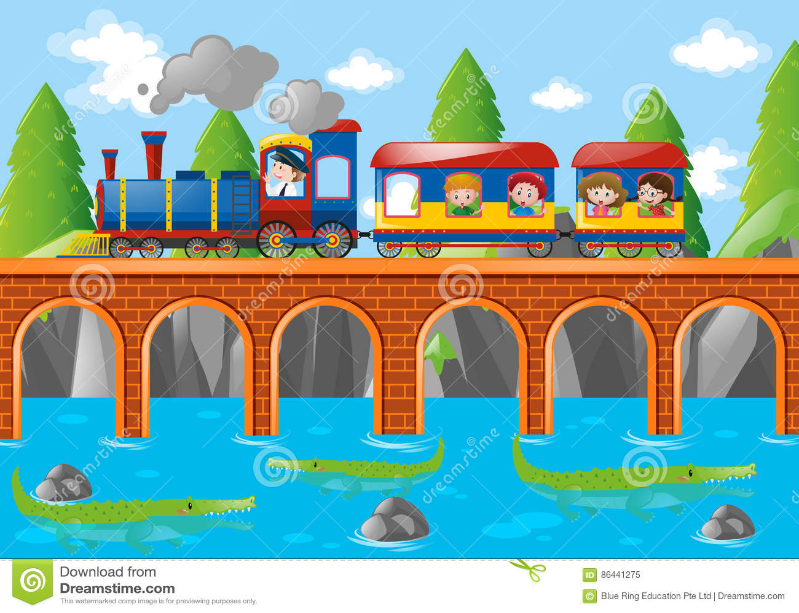 Παιδιά που οδηγούν στο τραίνο πέρα από τη γέφυρα