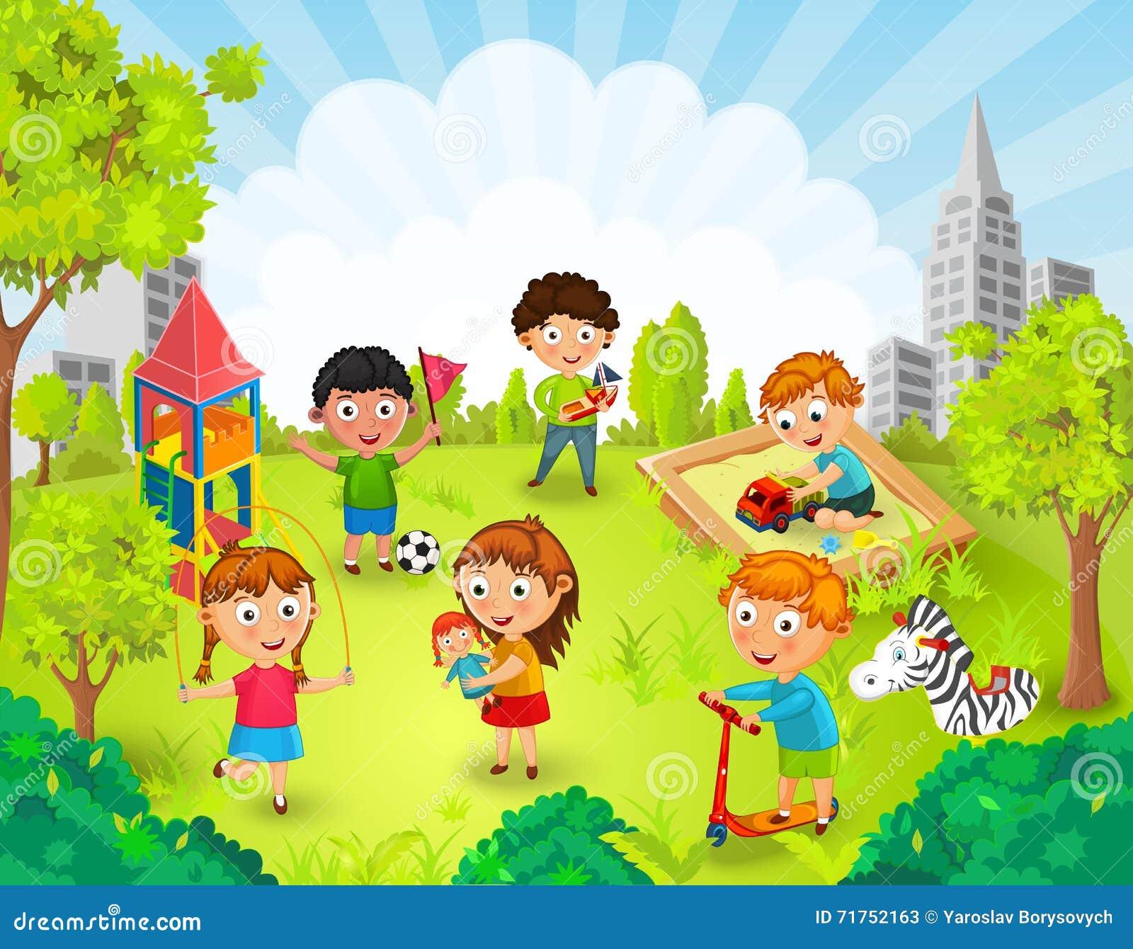 Παιδιά που παίζουν στο διάνυσμα πάρκων