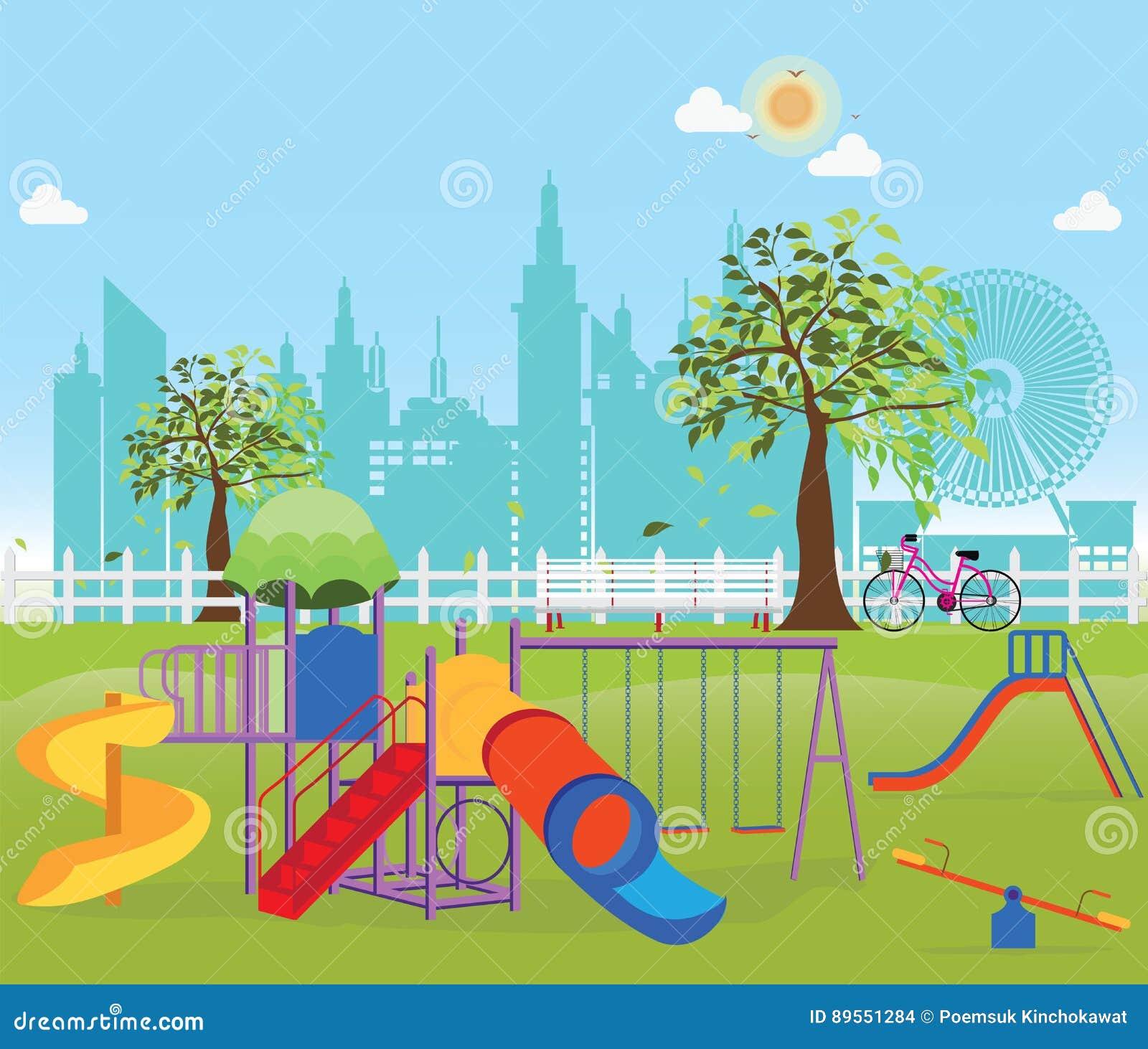 Παιδική χαρά στο δημόσιο πάρκο στην πόλη