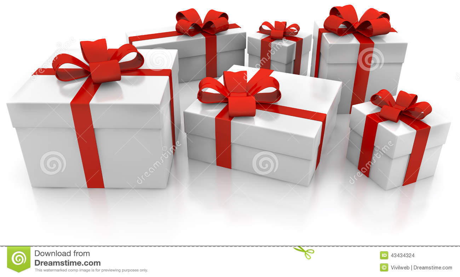 Πακέτα δώρων με την κόκκινη κορδέλλα Απεικόνιση αποθεμάτων - εικονογραφία  από κόκκινη, κορδέλλα: 43434324