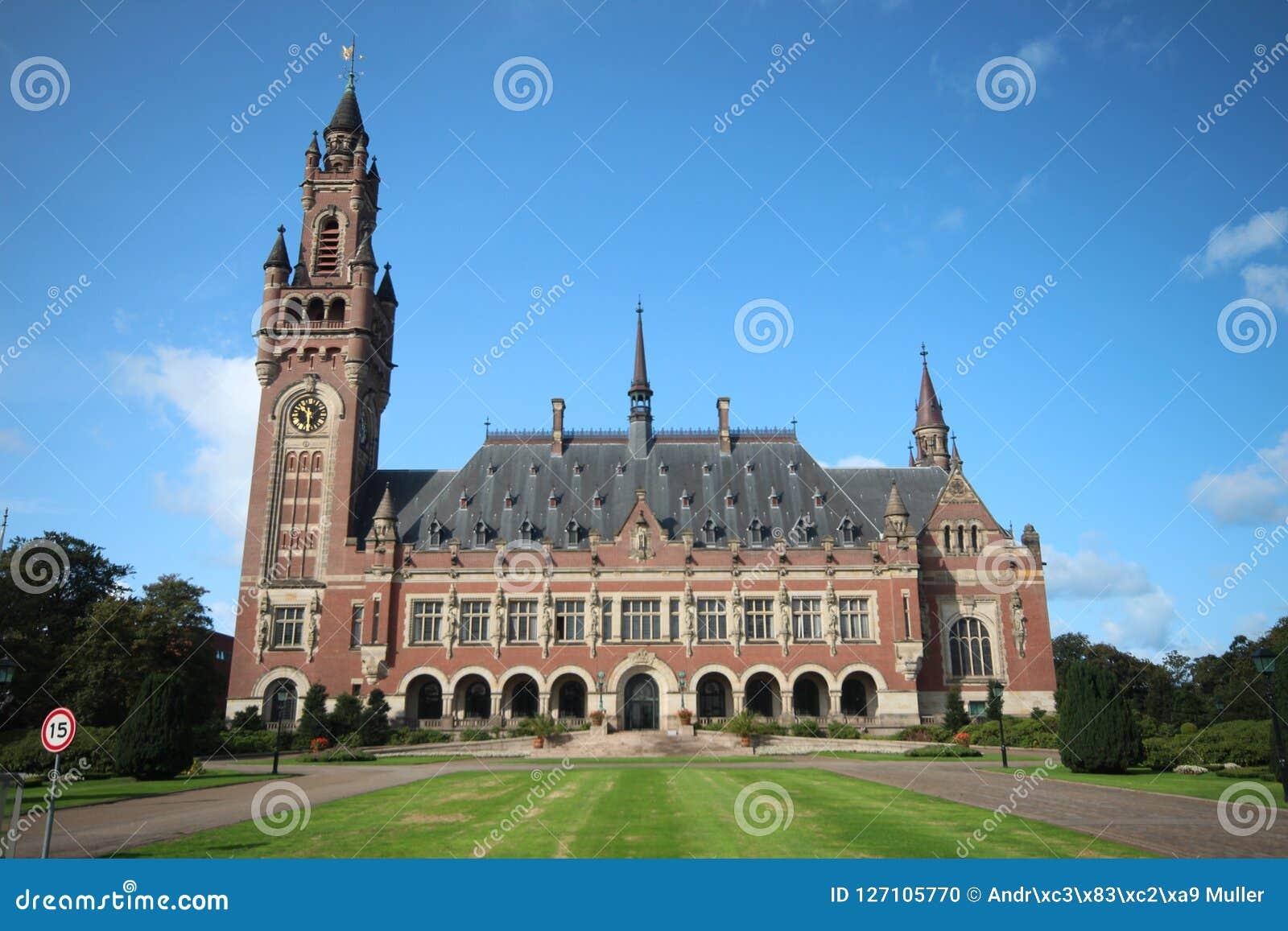 Παλάτι ειρήνης στη Χάγη, σπίτι του Διεθνούς Δικαστηρίου Ηνωμένων Εθνών και του μόνιμου δικαστηρίου της διαιτησίας