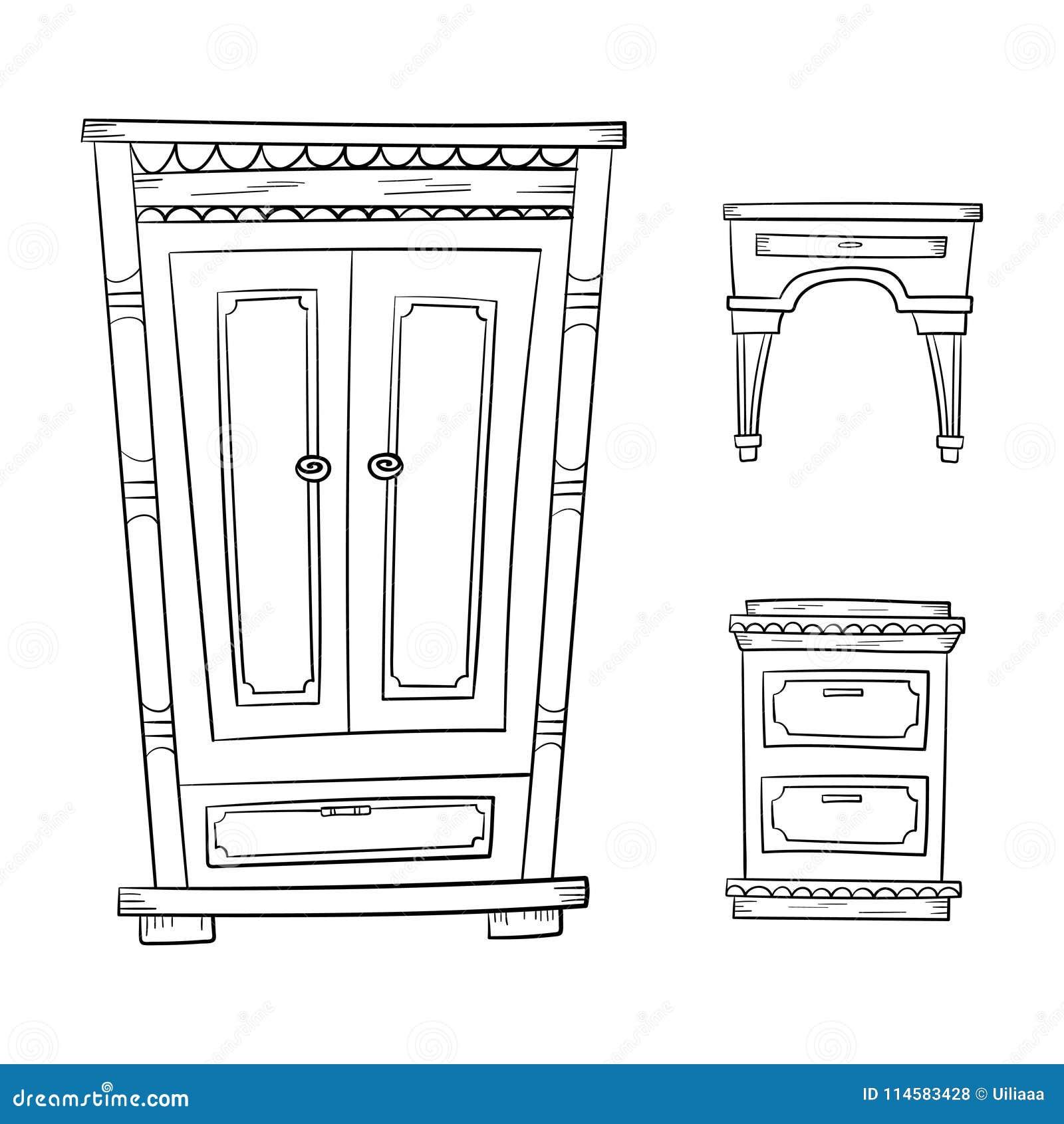 Παλαιά έπιπλα καθορισμένα - ντουλάπι, κομμό, nightstand απομονωμένος στο λευκό