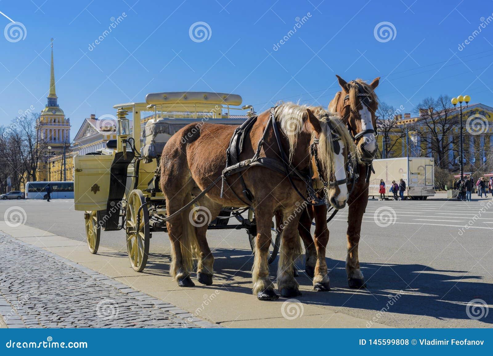 Παλαιά αναδρομική μεταφορά μπροστά από το μουσείο ερημητηρίων χειμερινών παλατιών στο τετράγωνο παλατιών στη Αγία Πετρούπολη, Ρωσ