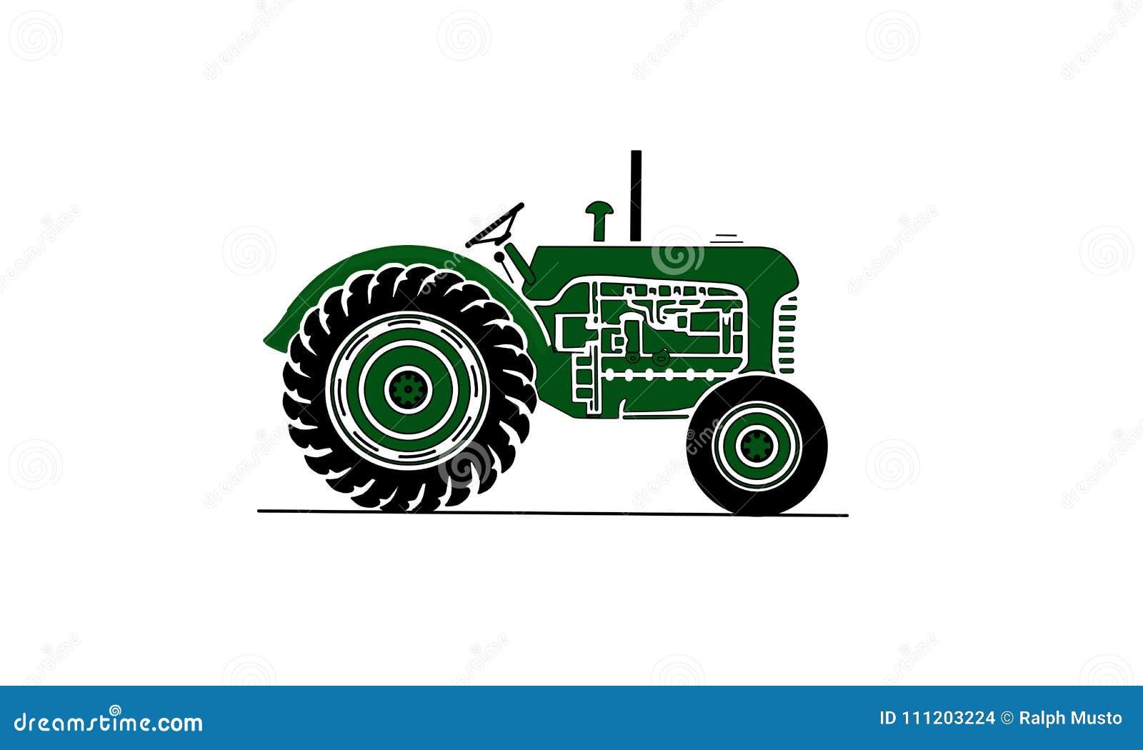 Παλαιά απεικόνιση αγροτικών τρακτέρ σε πράσινο