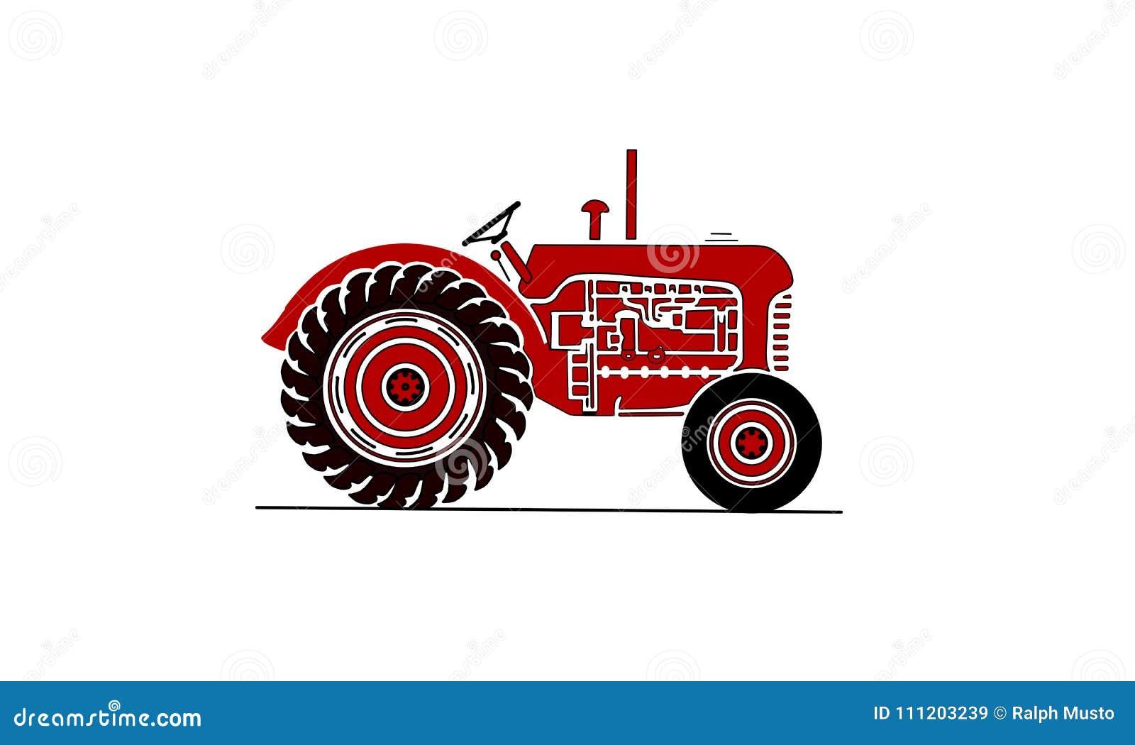 Παλαιά απεικόνιση τρακτέρ fram στο κόκκινο