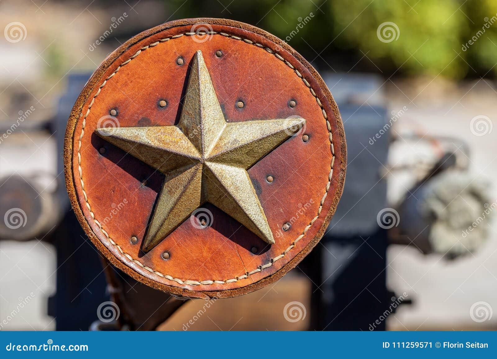 Παλαιά διακόσμηση δέρματος που διακοσμείται με το αστέρι του Τέξας μετάλλων