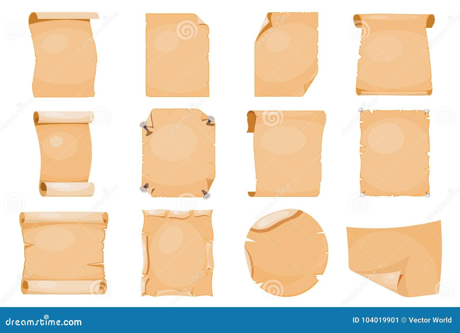 Παλαιά εγγράφου ρόλων κυλίνδρων αρχαία εκλεκτής ποιότητας παλαιά παπύρων διανυσματική απεικόνιση εγγράφων περγαμηνής σελίδων χειρ