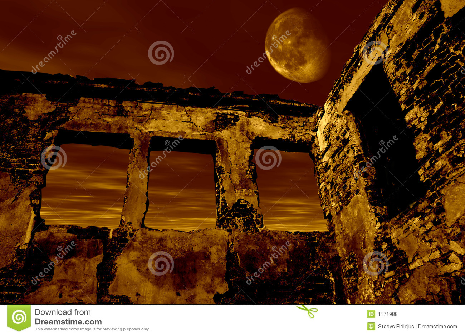 παλαιά καταστροφή σεληνό&ph