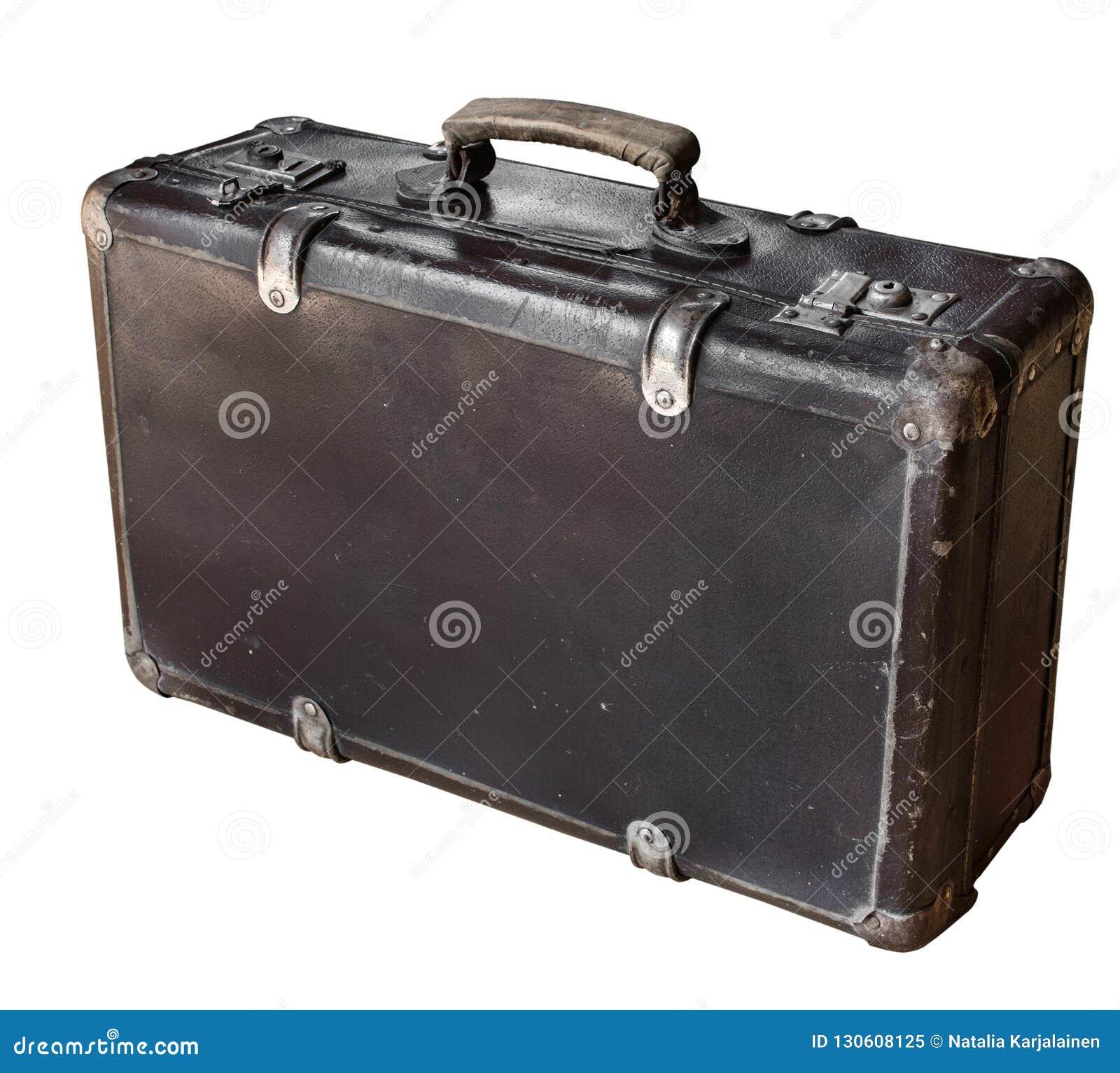 Παλαιά καφετιά βαλίτσα που απομονώνεται στο άσπρο υπόβαθρο αναδρομικό ύφος διάστημα αντιγράφων