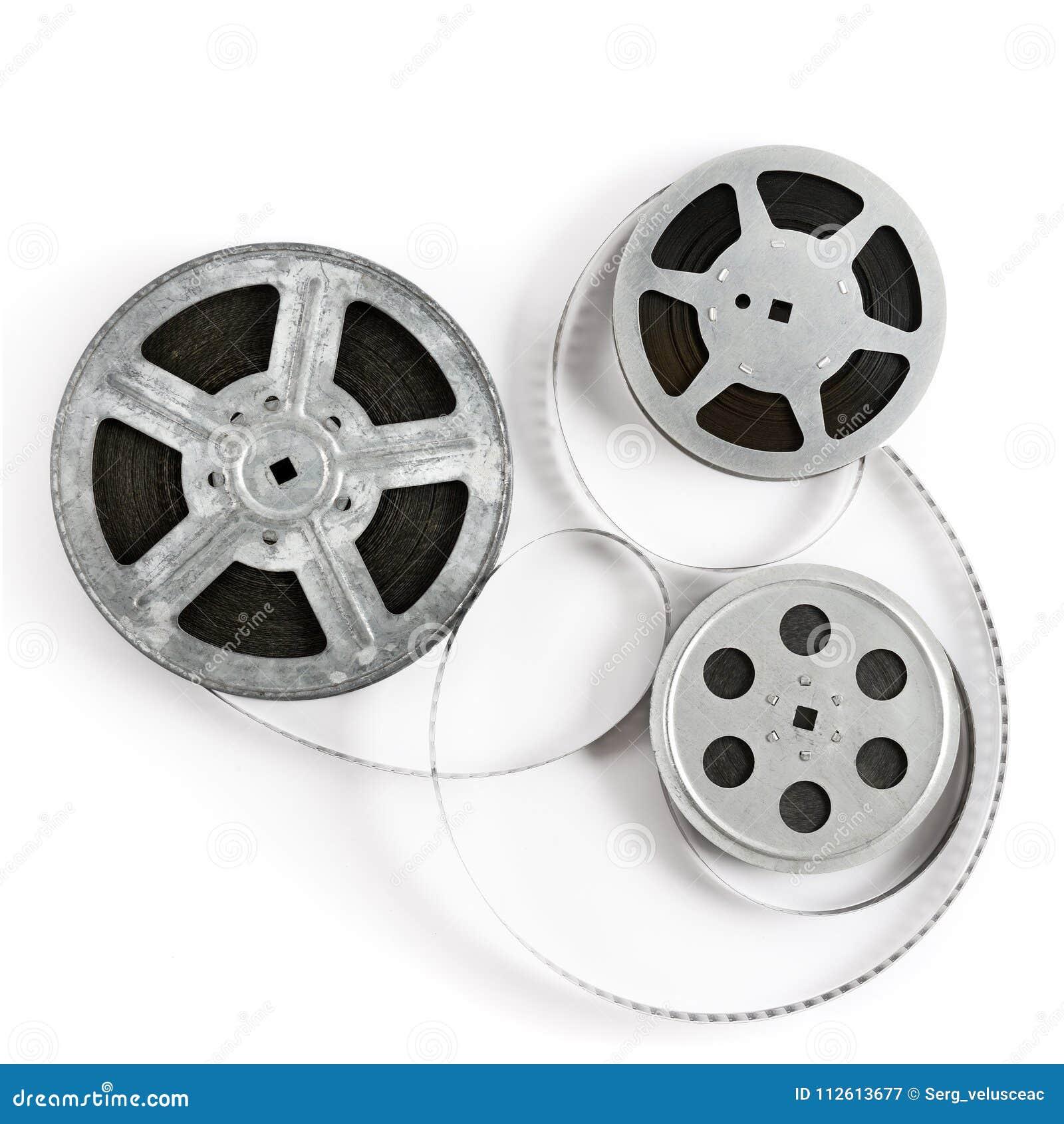 Παλαιά λουρίδα ταινιών στο άσπρο υπόβαθρο Τοπ όψη