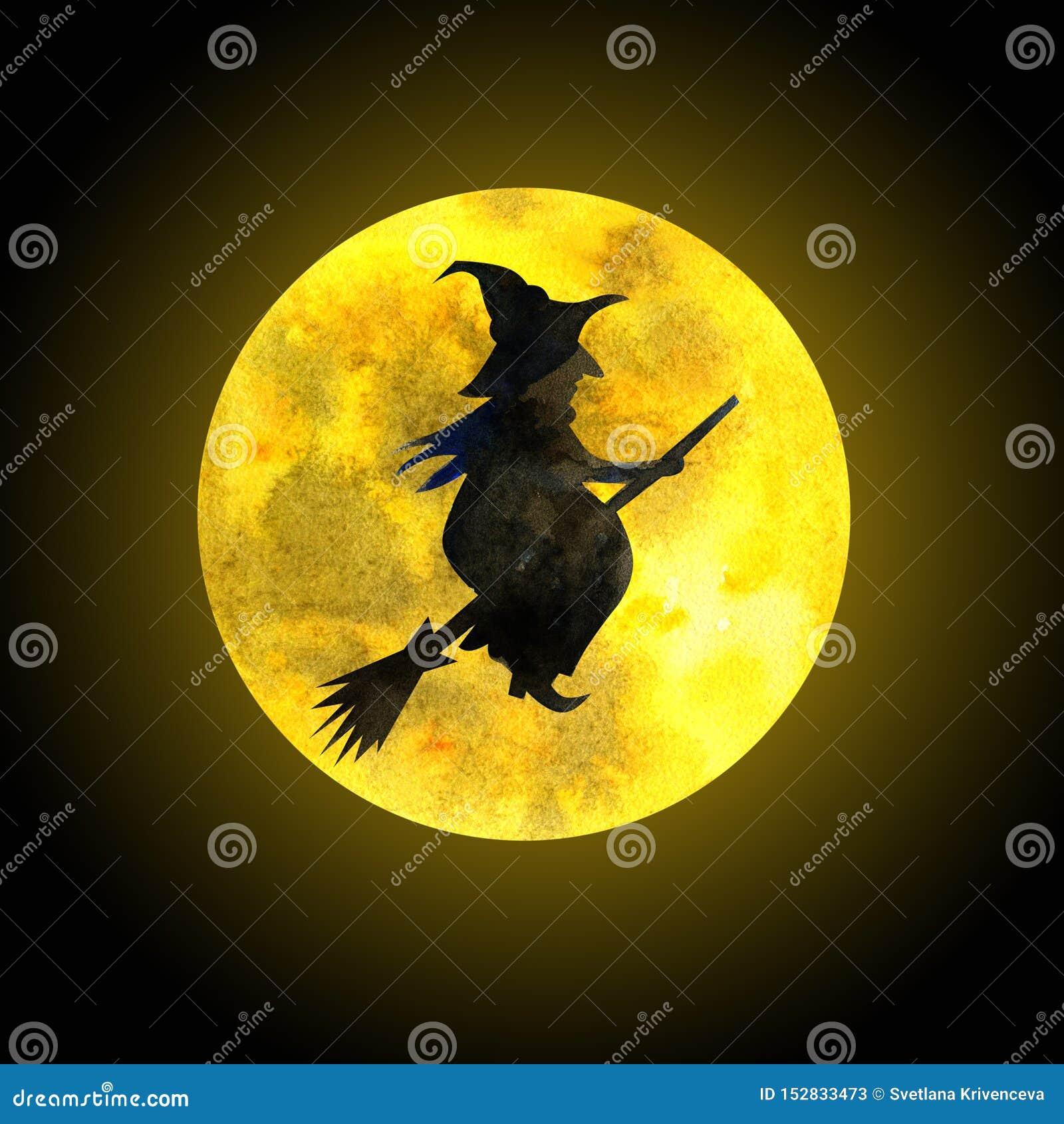Παλαιά μάγισσα σε ένα σκουπόξυλο και το φεγγάρι