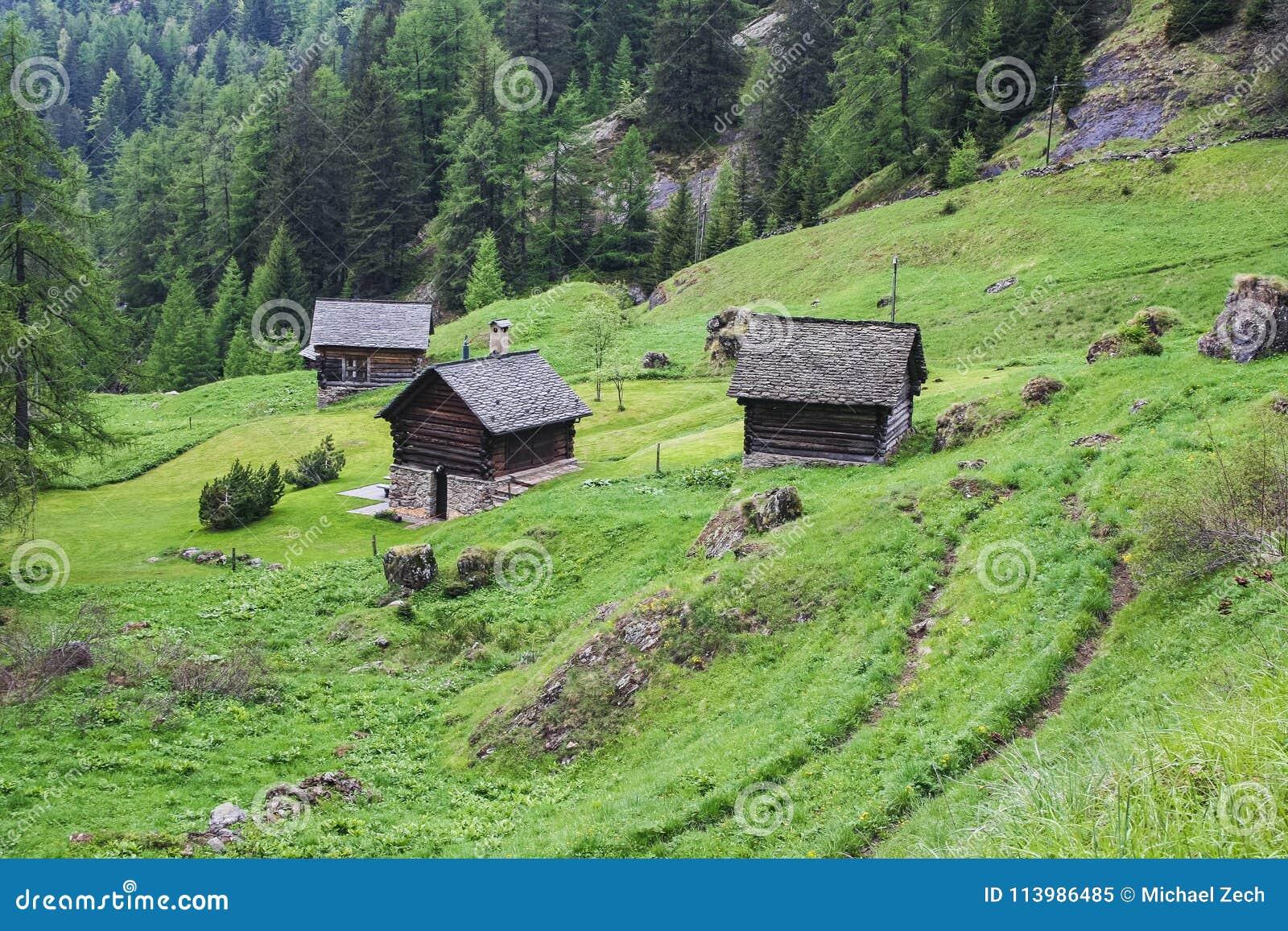 Παλαιά σπίτια στο μέρος κοιλάδων maggia της Ελβετίας