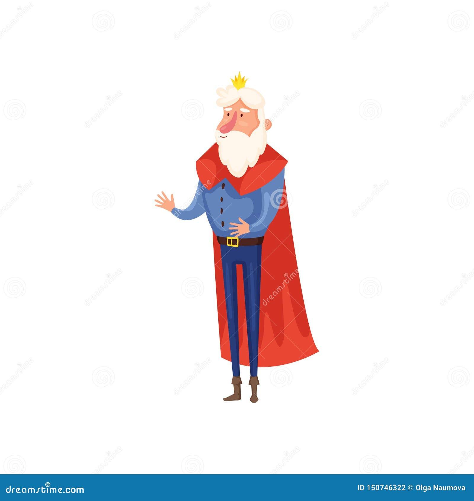 Παλαιός ανώτερος βασιλιάς με τη μικρή χρυσή κορώνα και το μακρύ κόκκινο μανδύα
