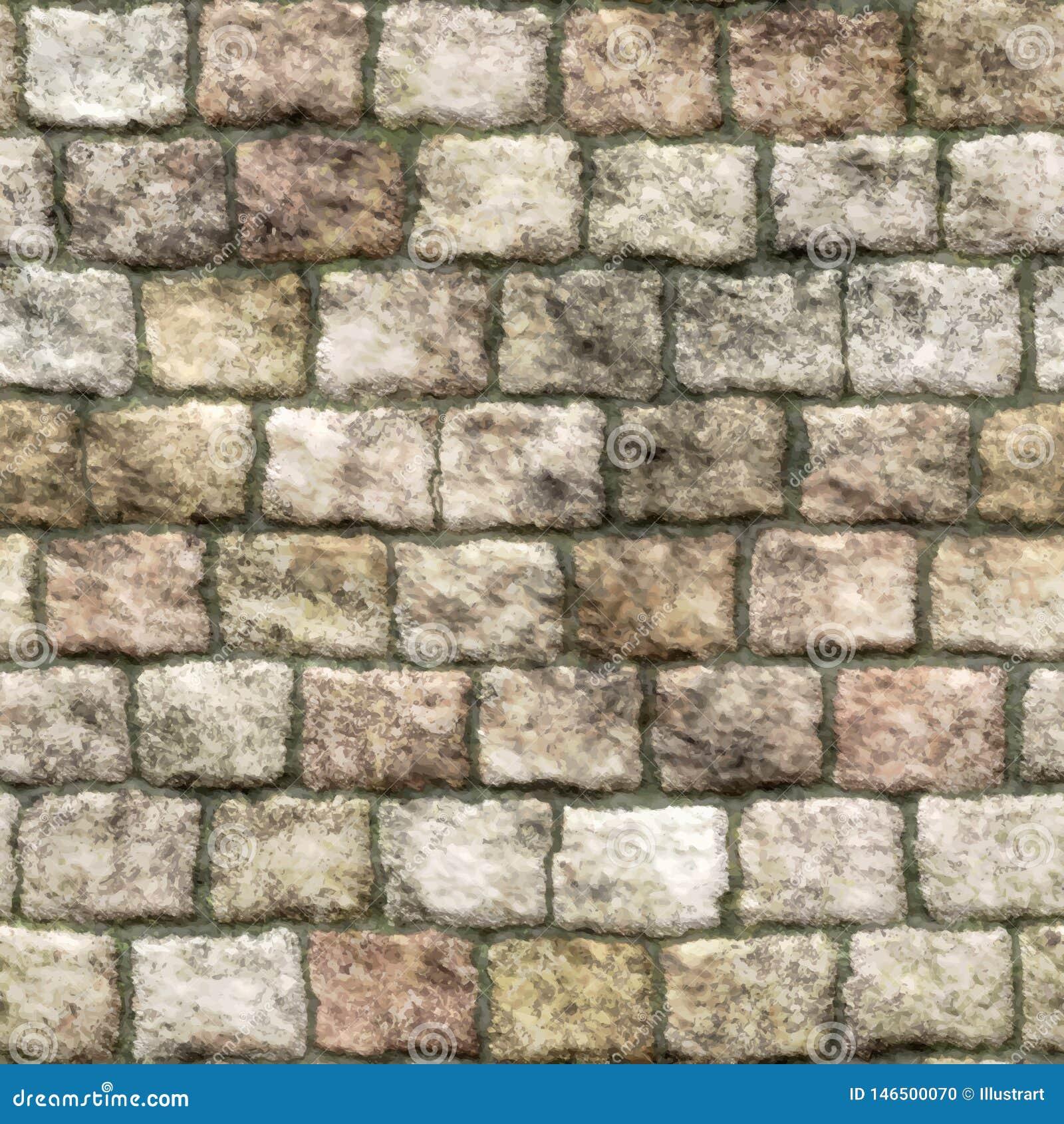 Παλαιός τουβλότοιχος πετρών με το άνευ ραφής υπόβαθρο βρύου - διάνυσμα