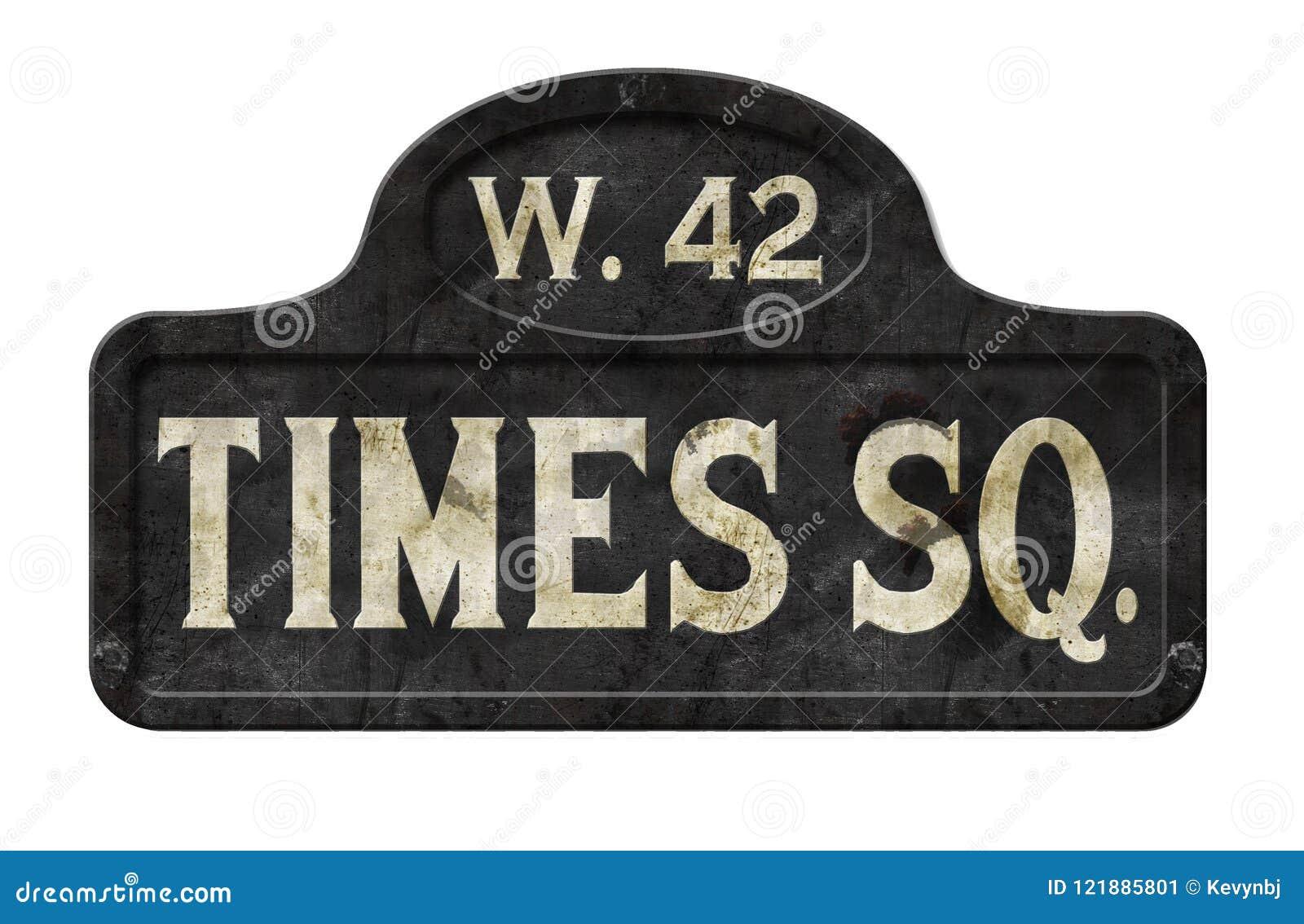 Παλαιός παλαιός τρύγος σημαδιών οδών της Times Square πόλεων της Νέας Υόρκης