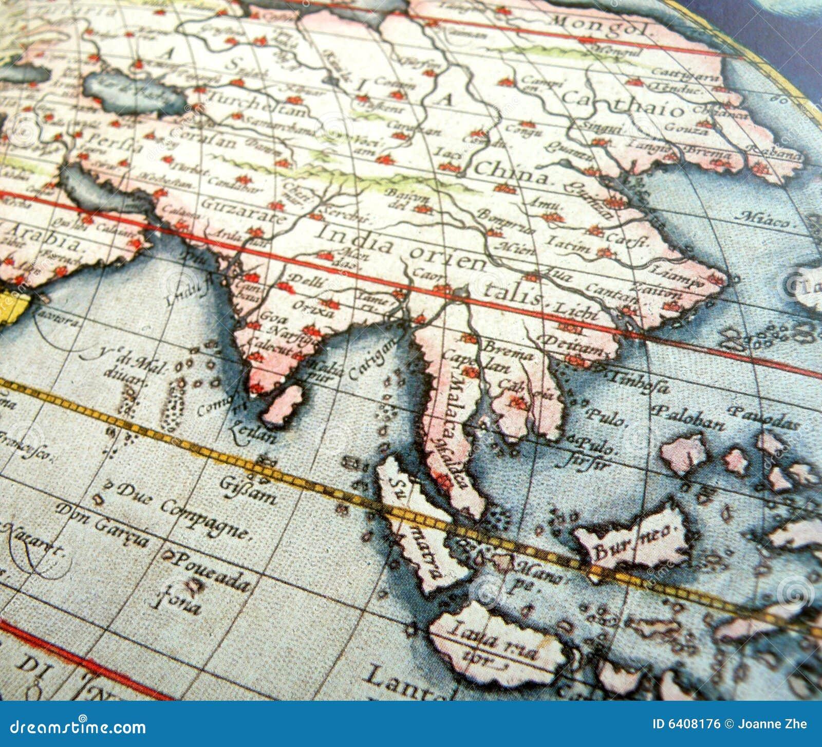 παλαιός χάρτης της Ασίας