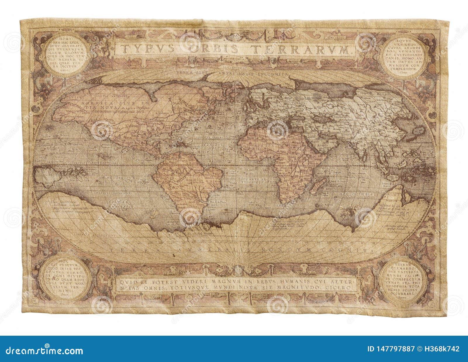 Παλαιός χάρτης του παγκόσμιου τάπητα που απομονώνεται στο λευκό Χαρτογραφία