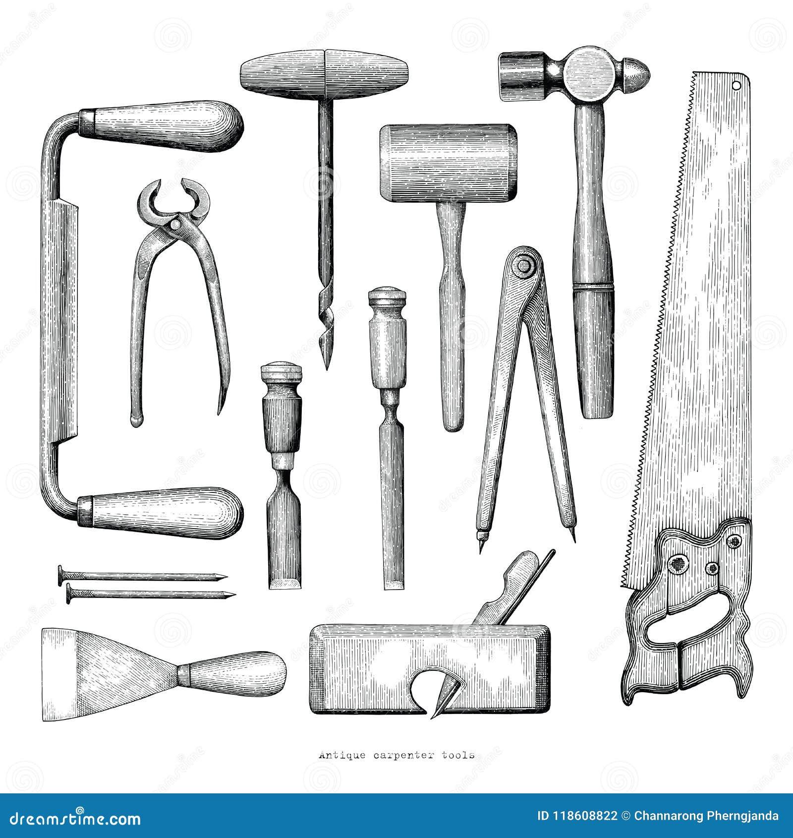 Παλαιό εκλεκτής ποιότητας ύφος σχεδίων χεριών εργαλείων ξυλουργών στην άσπρη πλάτη