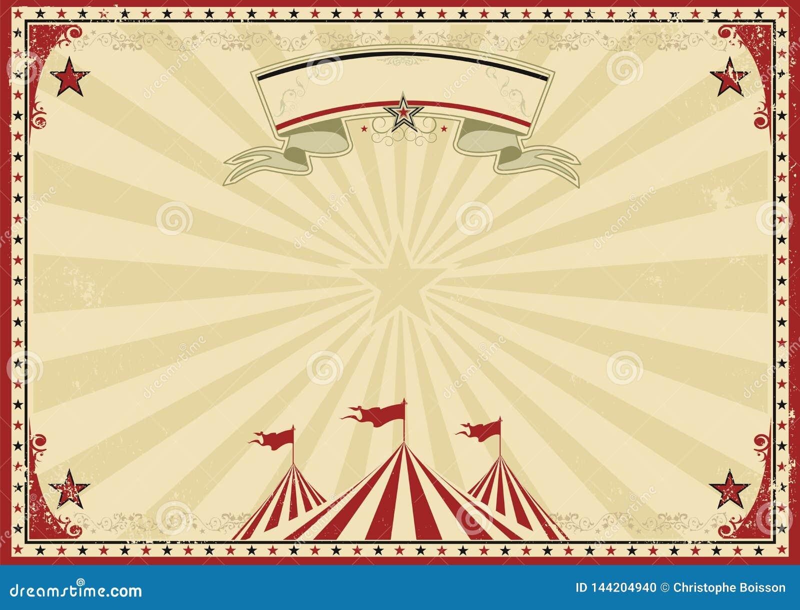 Παλαιό κόκκινο οριζόντιο υπόβαθρο τσίρκων