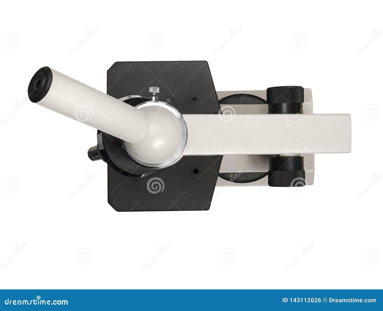 Παλαιό μικροσκόπιο που απομονώνεται στο άσπρο υπόβαθρο, τοπ άποψη Ψαλιδίζοντας μονοπάτι