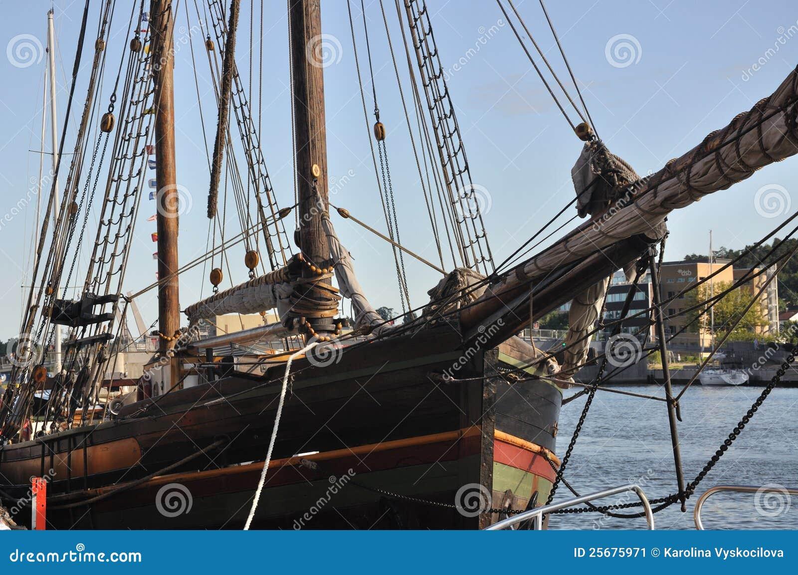 παλαιό πλέοντας tonsberg σκάφος της Νορβηγίας λεπτομέρειας ξύλινο
