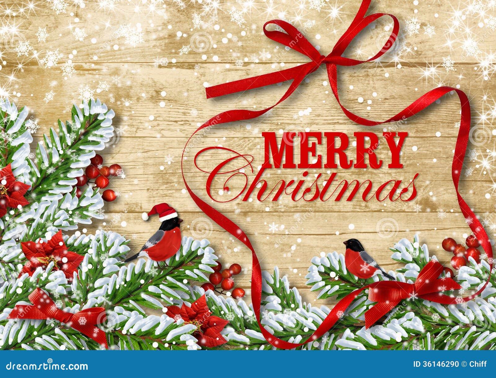 Πανέμορφη κάρτα Χριστουγέννων. Bullfinches στους κλάδους χιονιού. για το congr