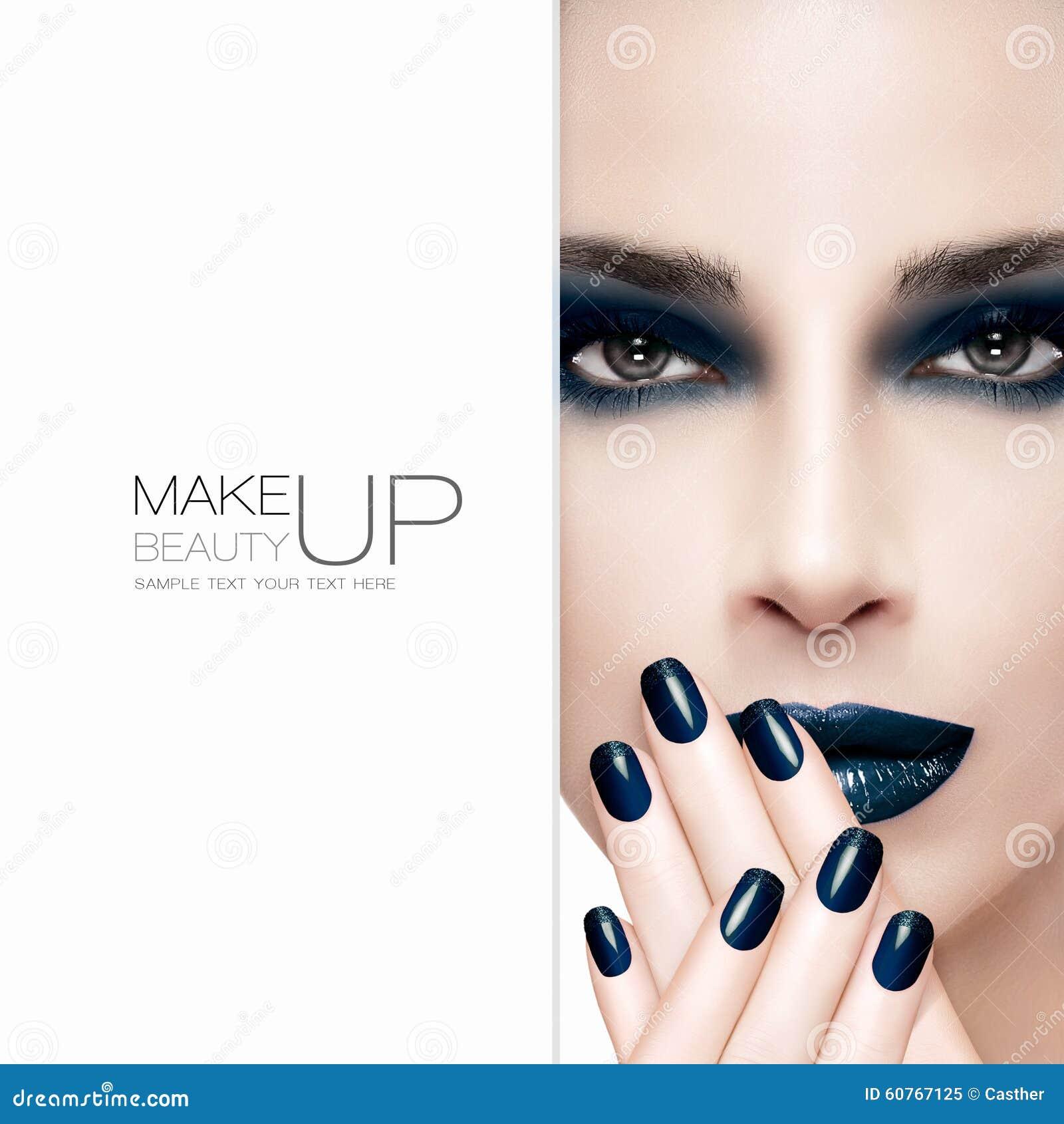 Πανέμορφο πρότυπο μόδας ομορφιάς Τέχνη και makeup έννοια καρφιών