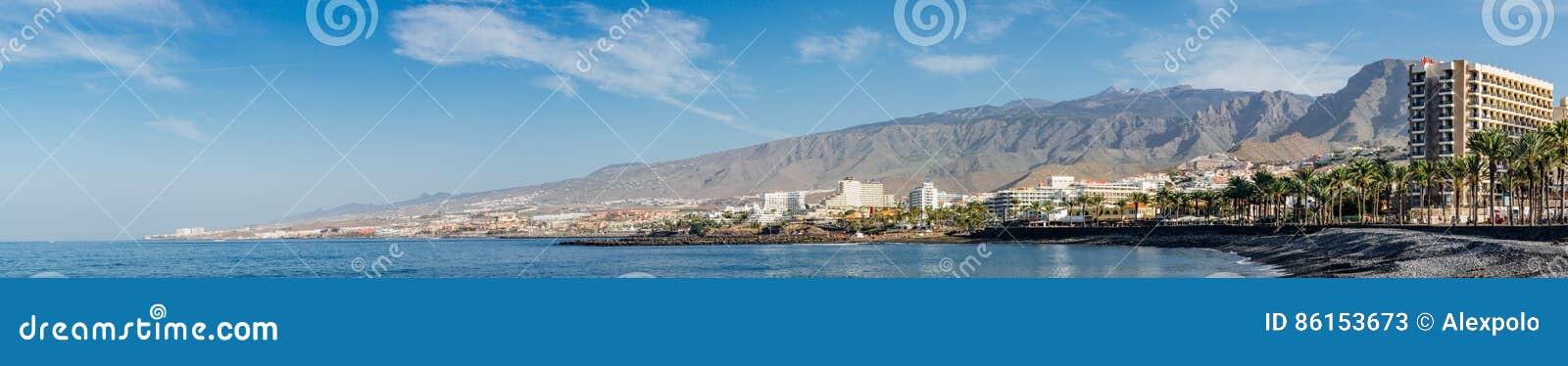 Πανοραμική άποψη σχετικά με την ακτή Adeje πλευρών του θερέτρου, Tenerife